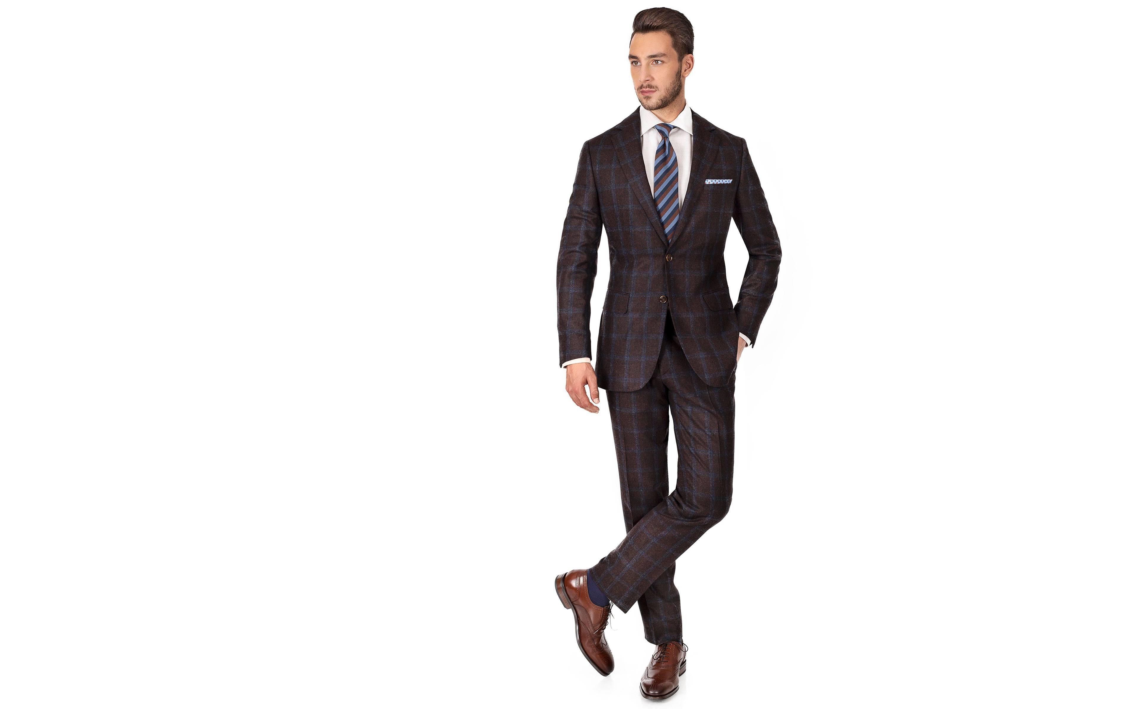 Blue Windowpane Brown Wool & Cashmere Suit