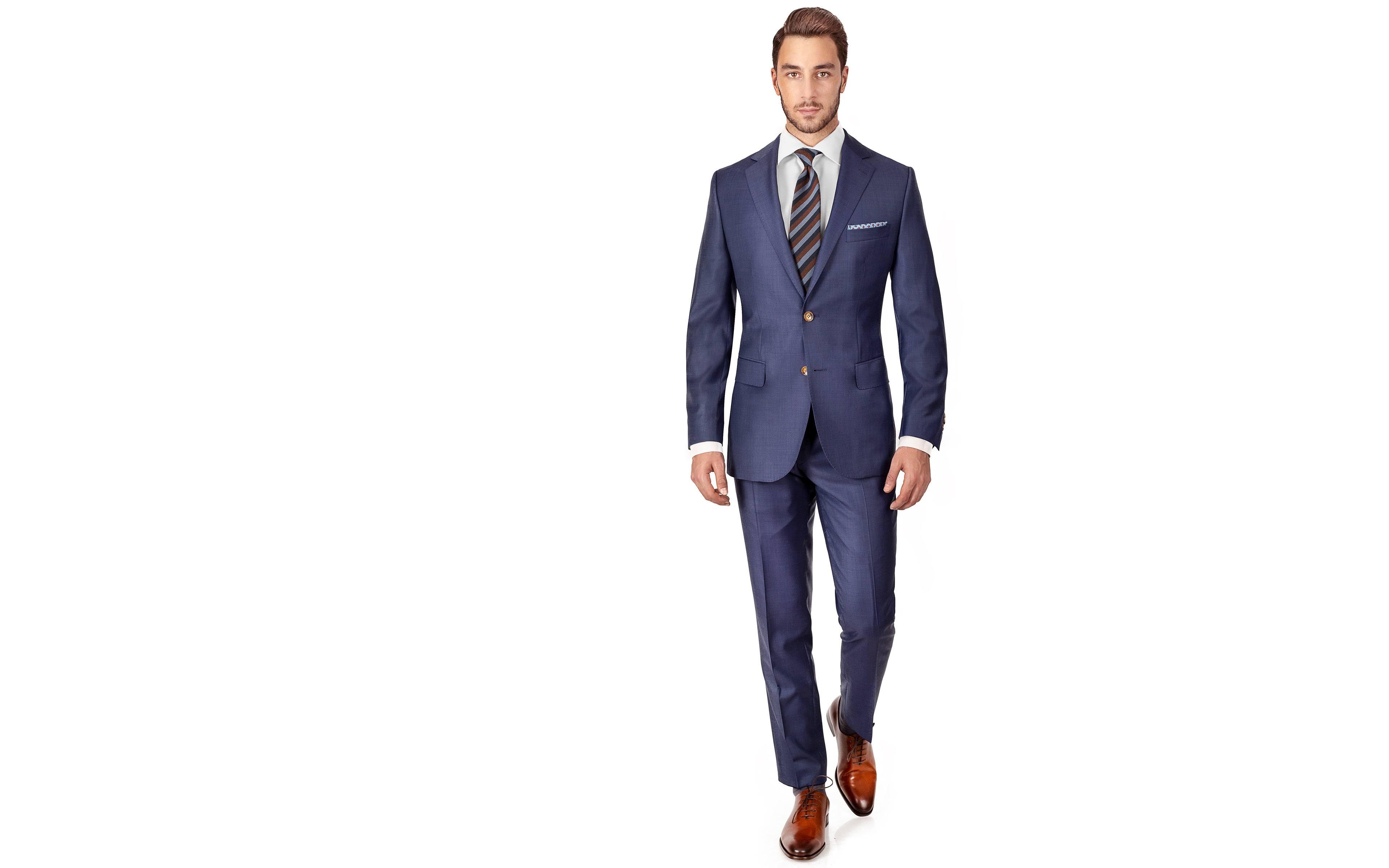 Suit in Sky Blue Pick & Pick Wool