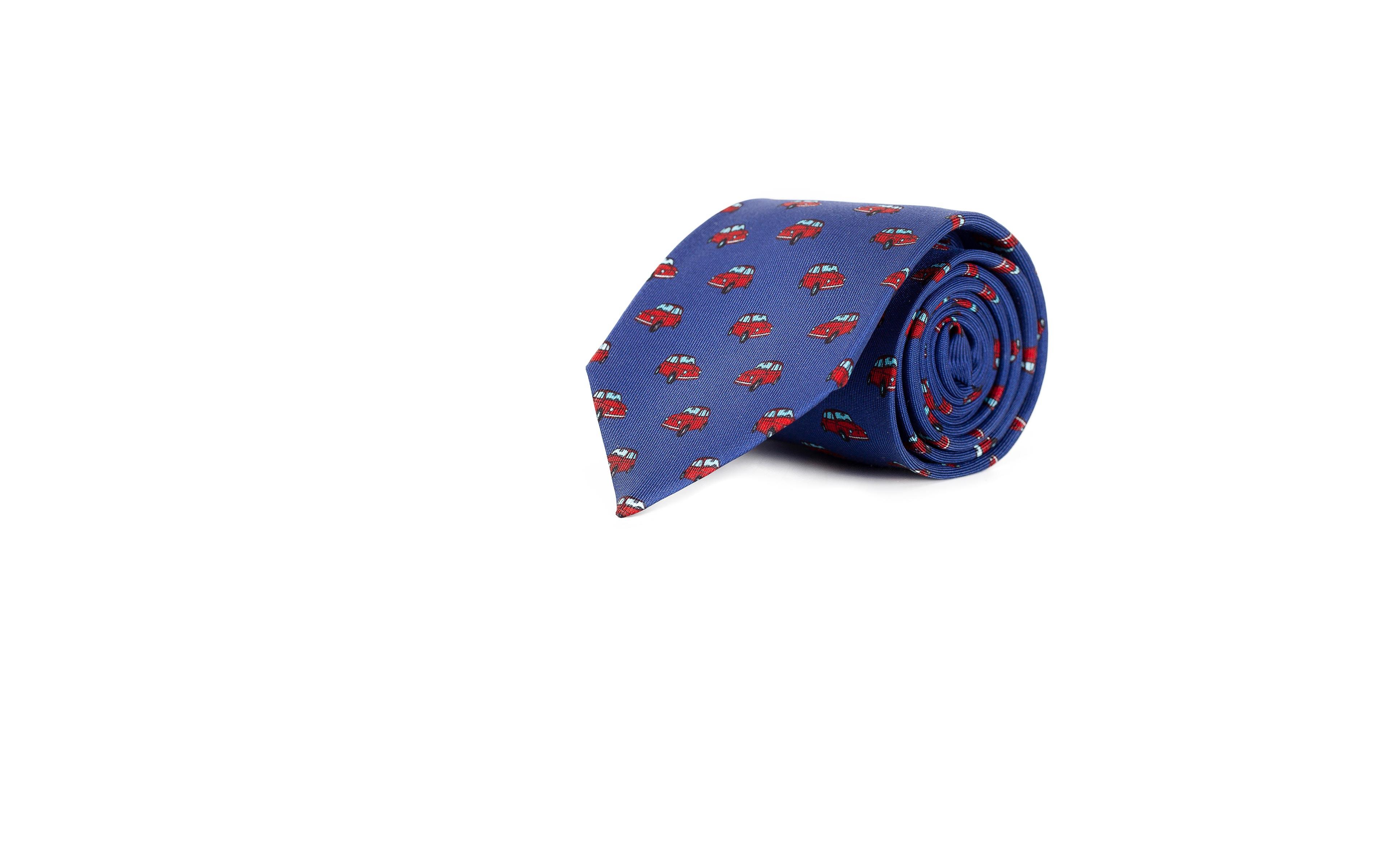 Navy Cars 28 Momme Silk Tie