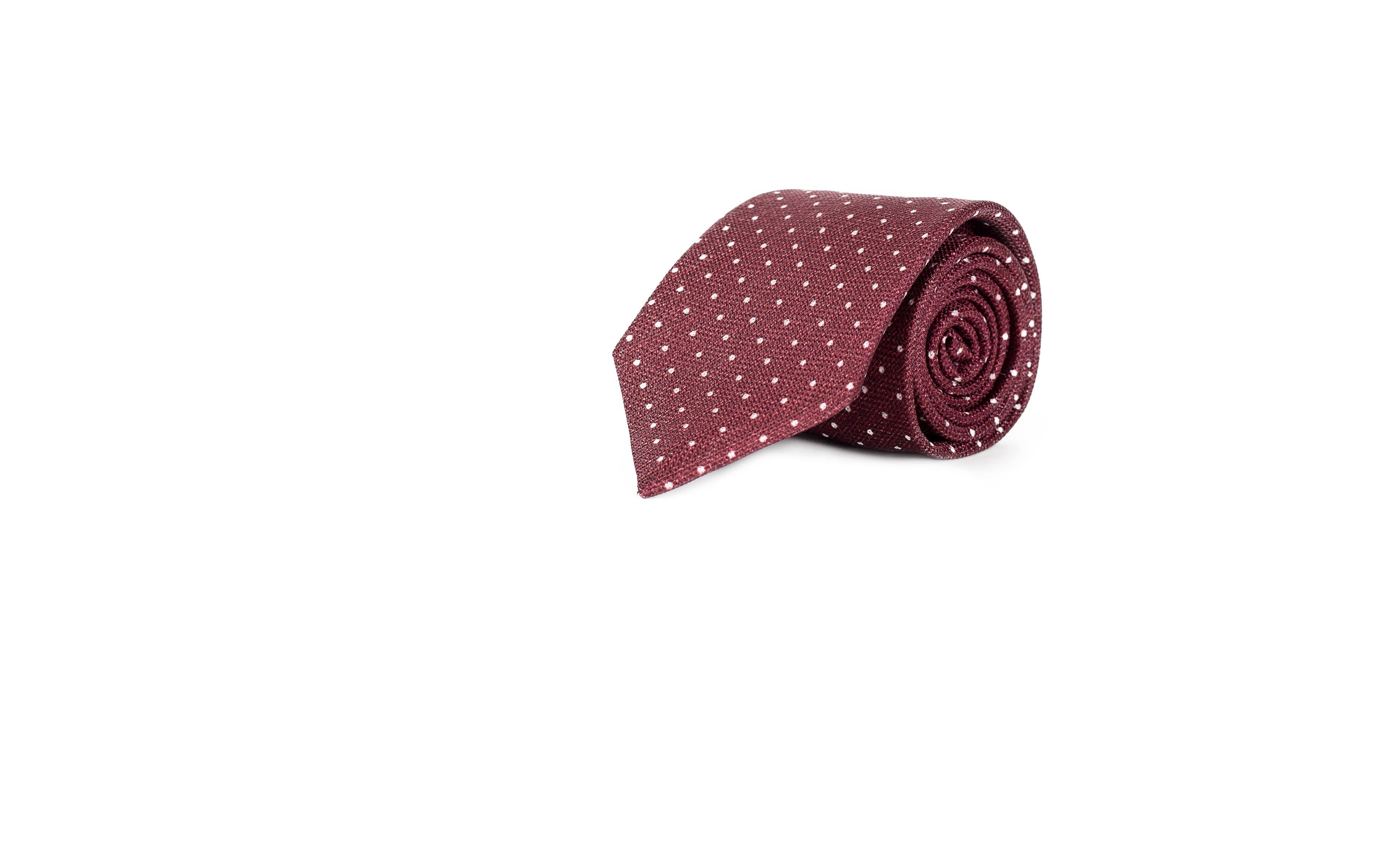 Burgundy Dotted Silk Tie