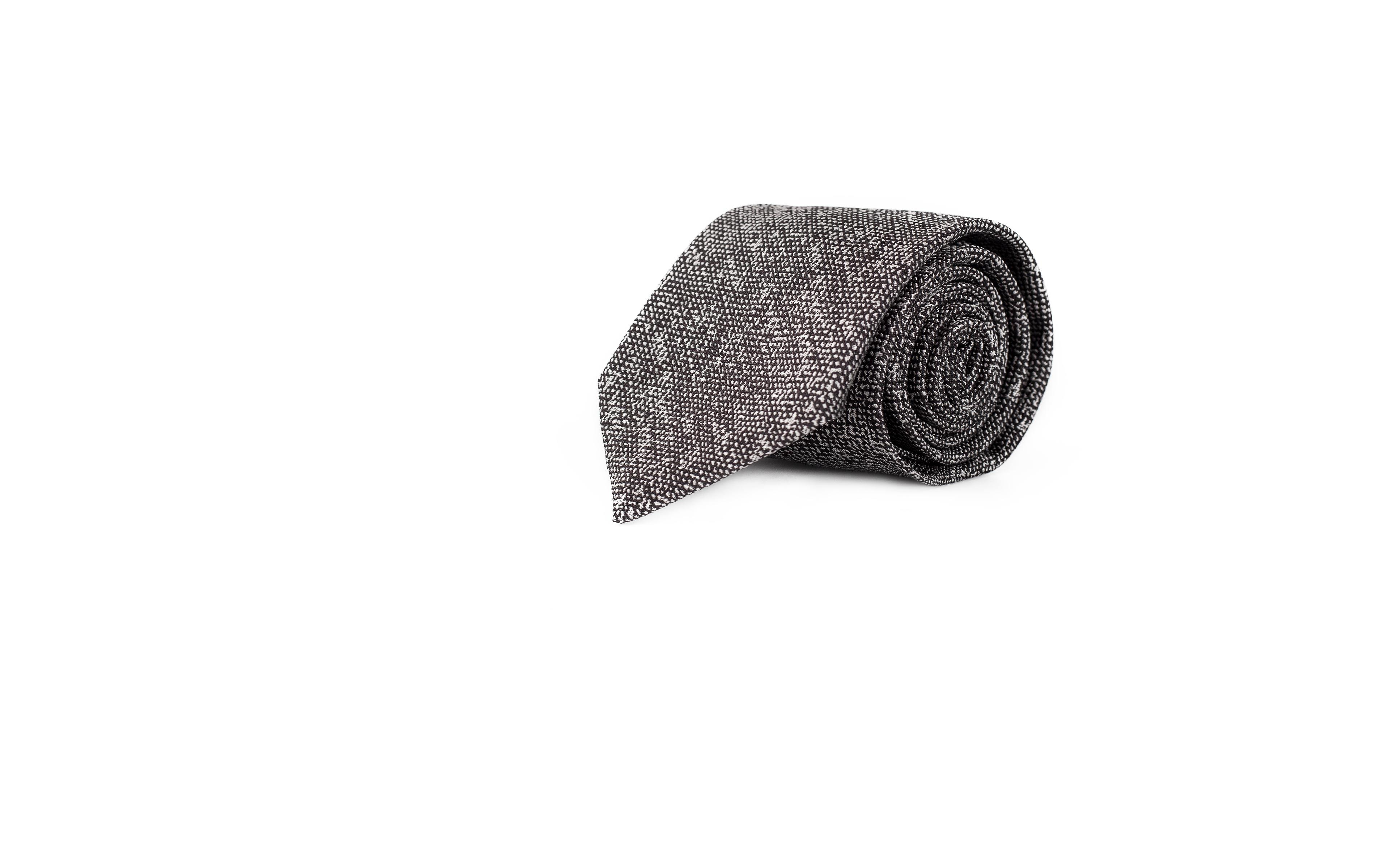 Grey Melange Silk-Cotton Tie