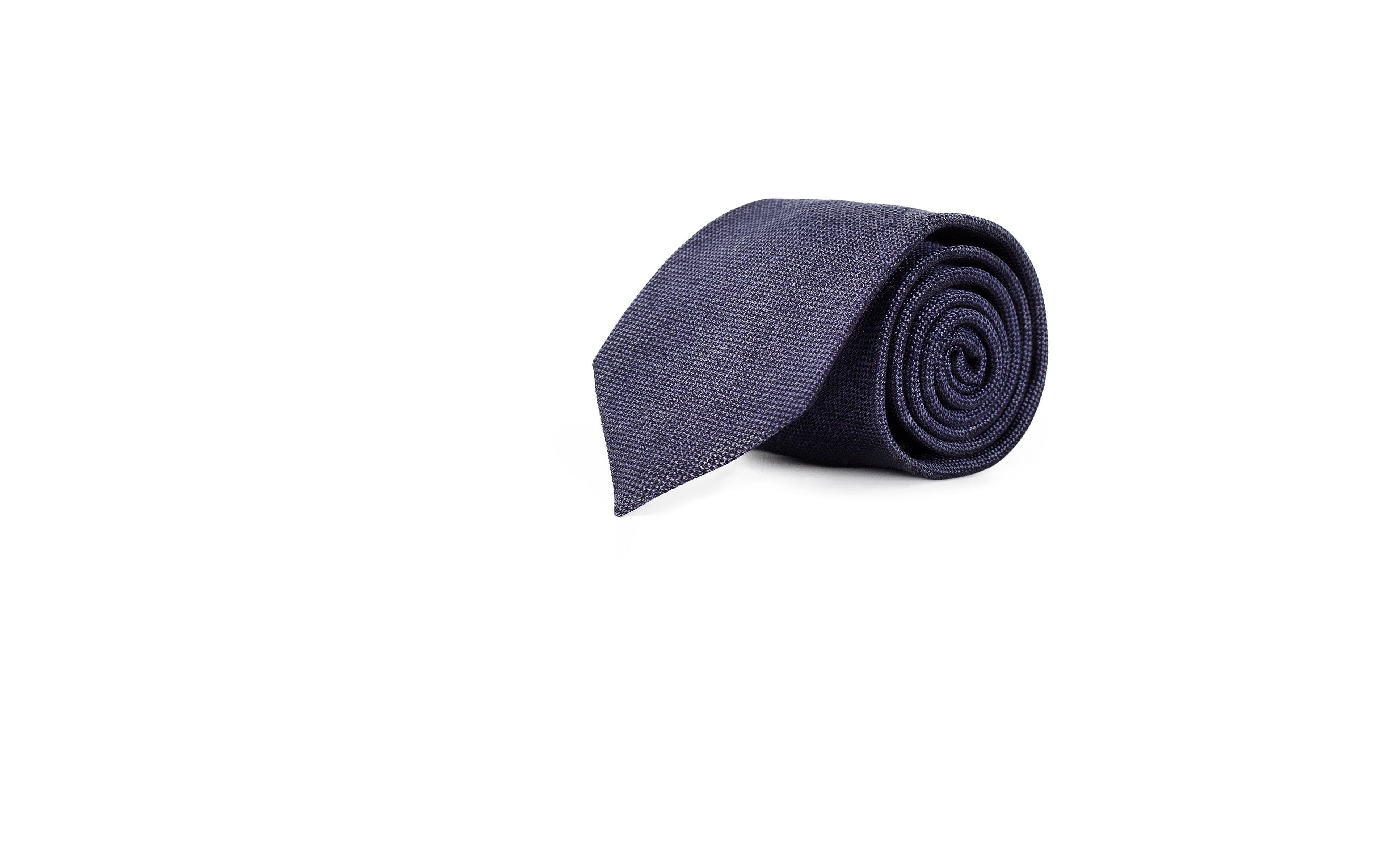 Dull Navy Melange Silk-Cotton Tie