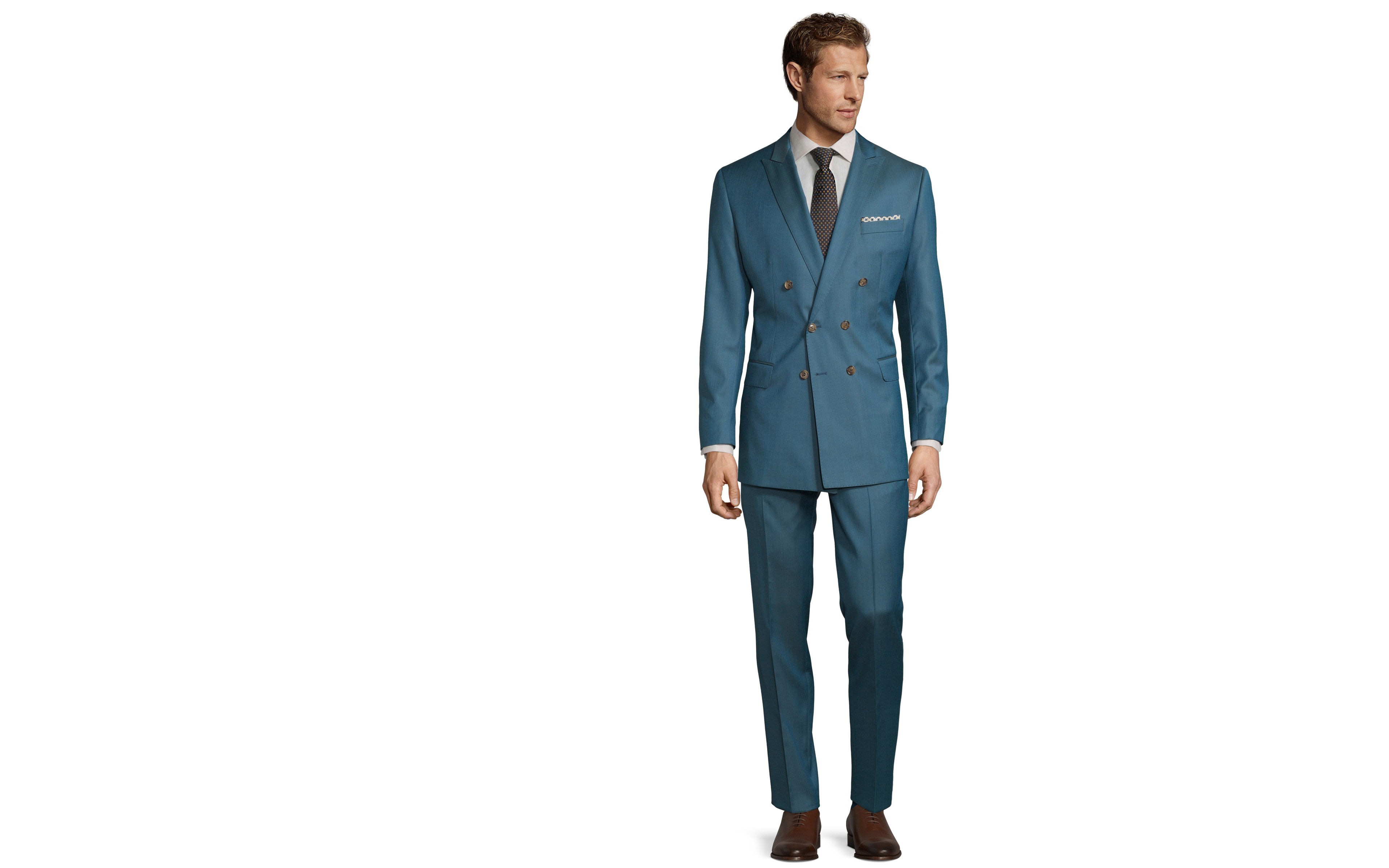 Teal Blue Wool & Silk Suit