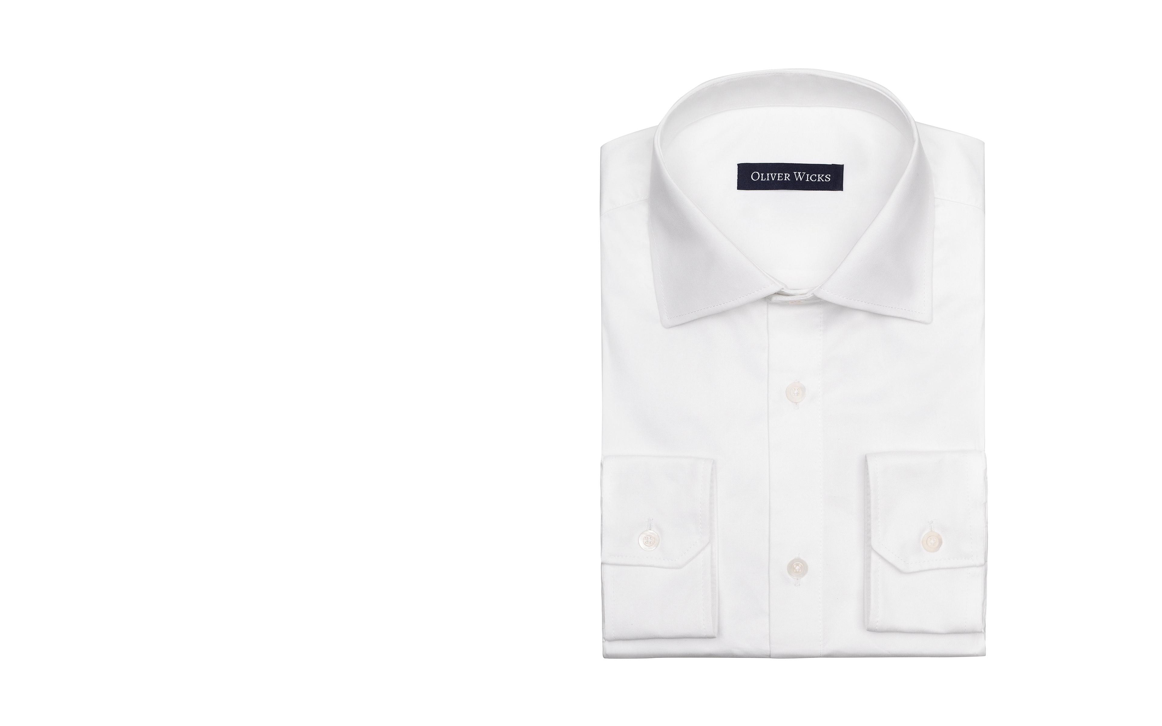 White Non-iron Cotton Twill Shirt