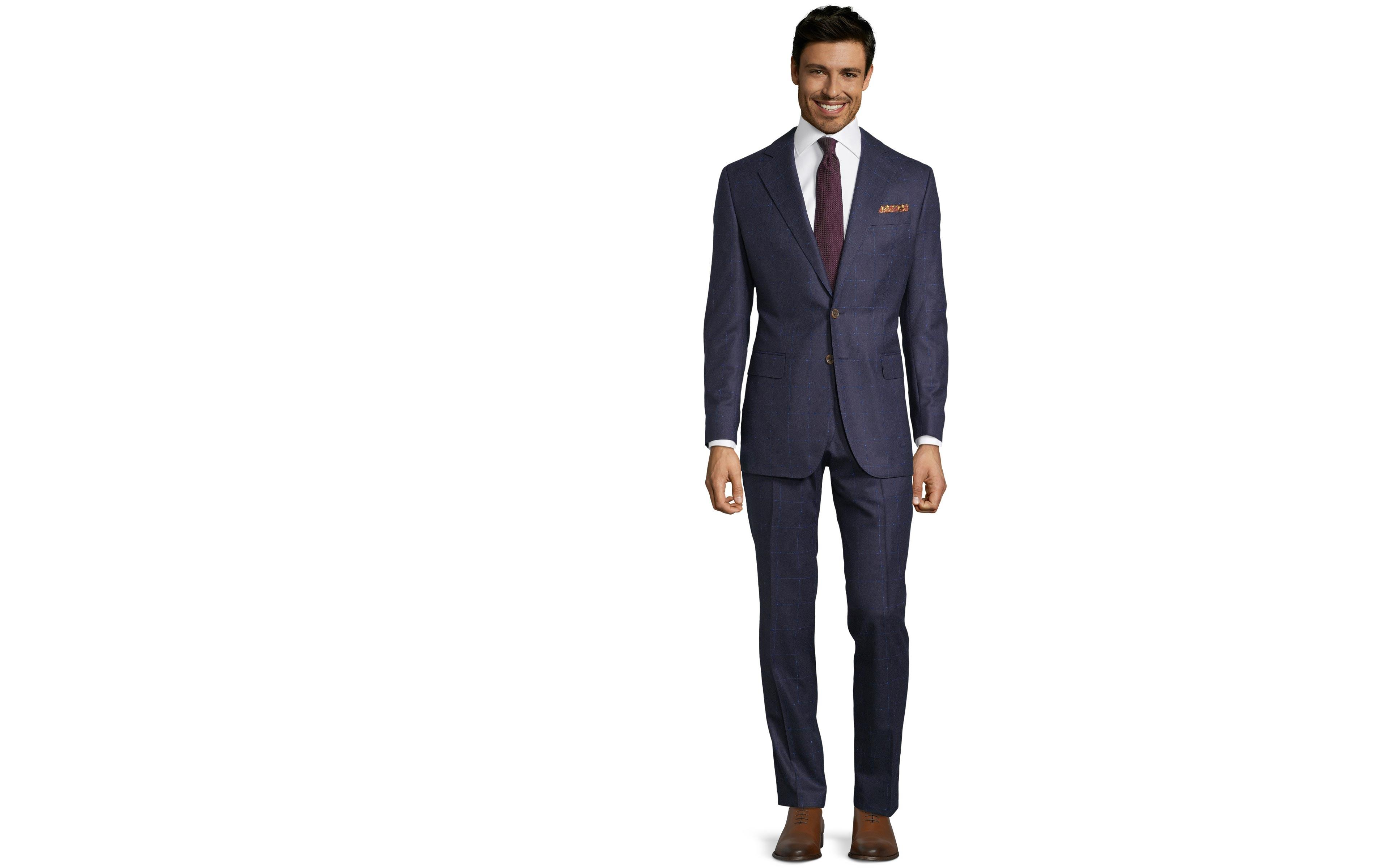 Blue Shadow Check Suit