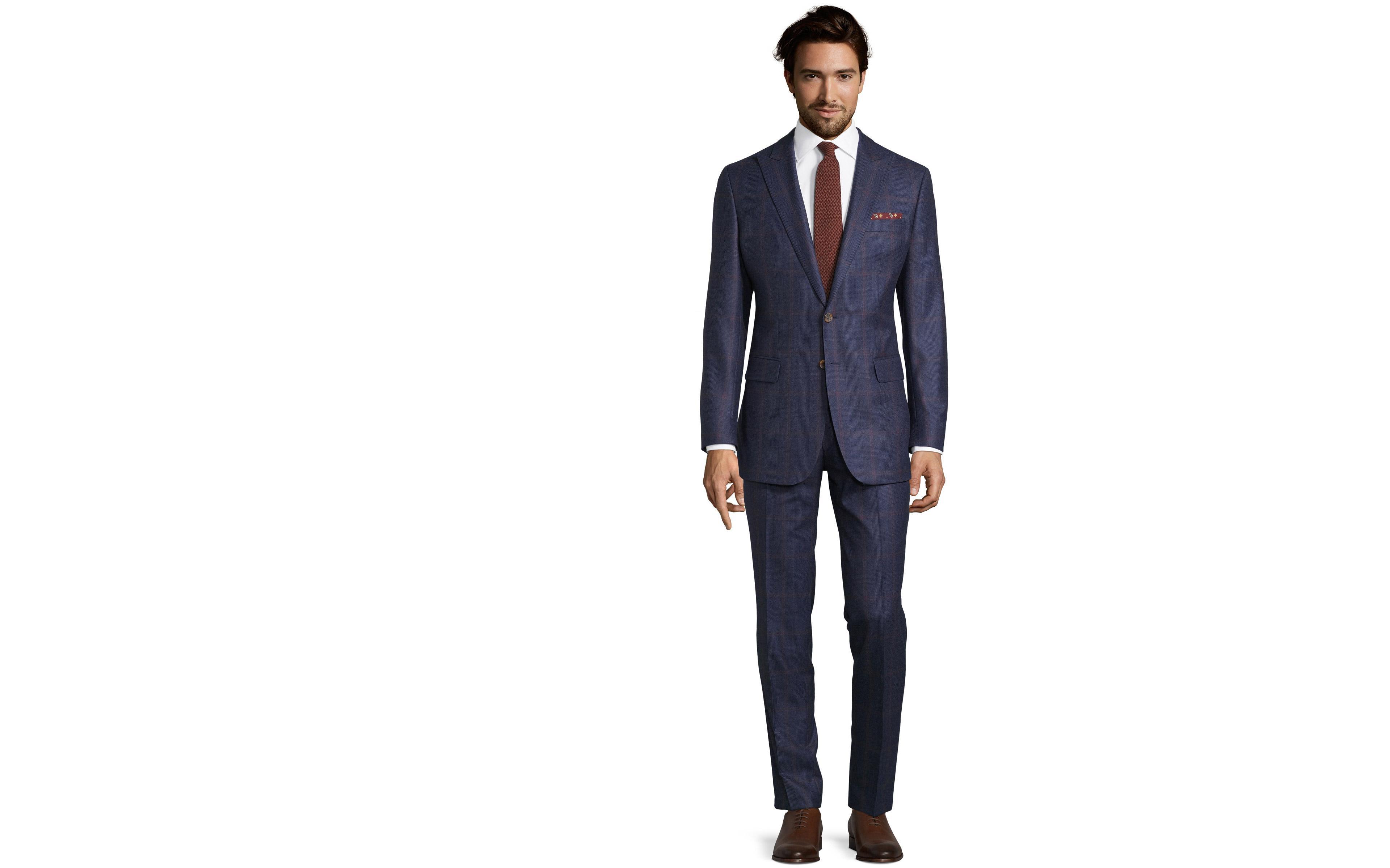 Tangerine Check Navy Plaid Suit