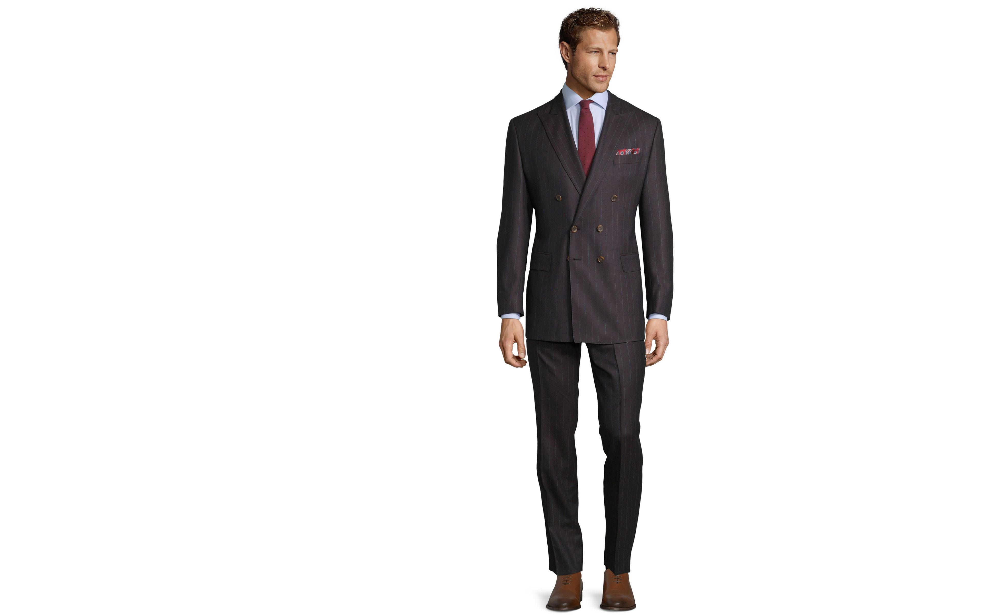 Blue Stripe Brown Suit