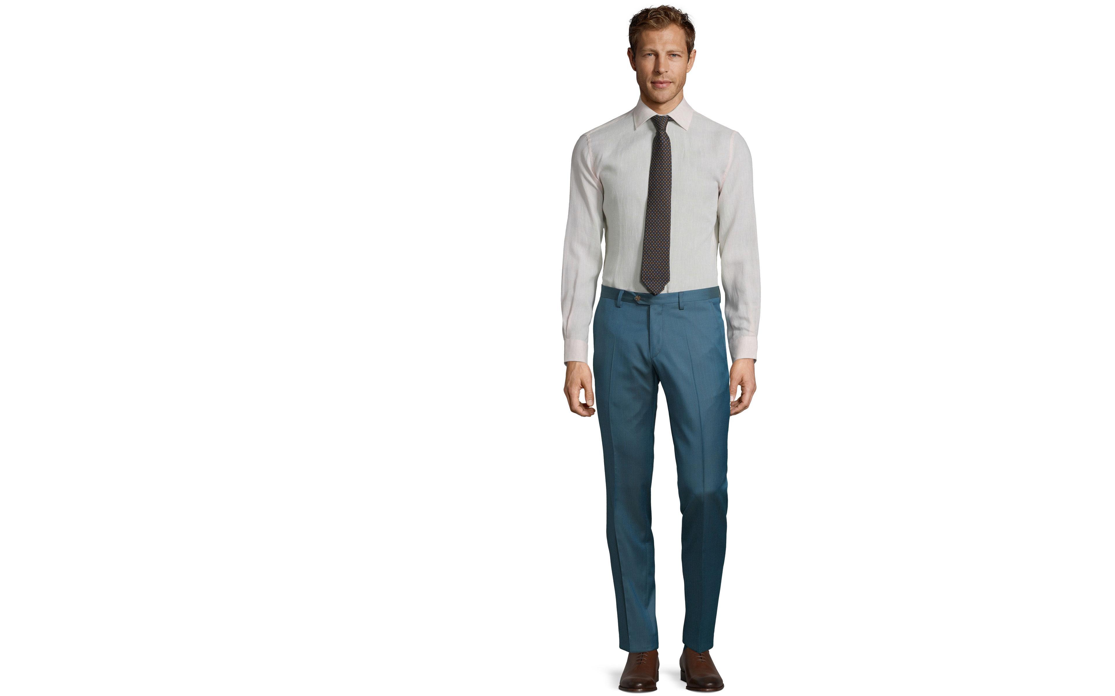 Teal Blue Wool & Silk Dress Pants