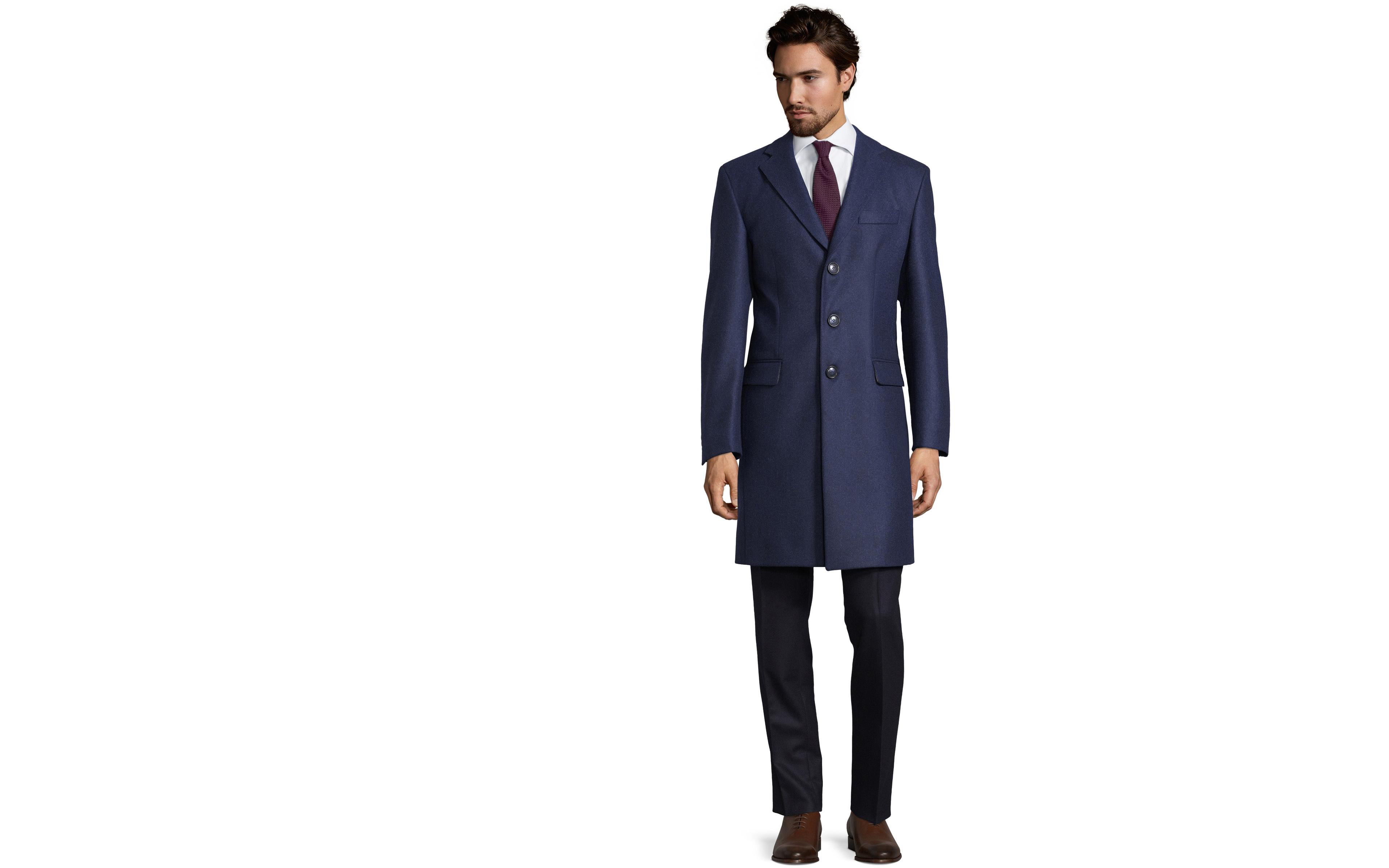 Coat in Solid Navy Wool