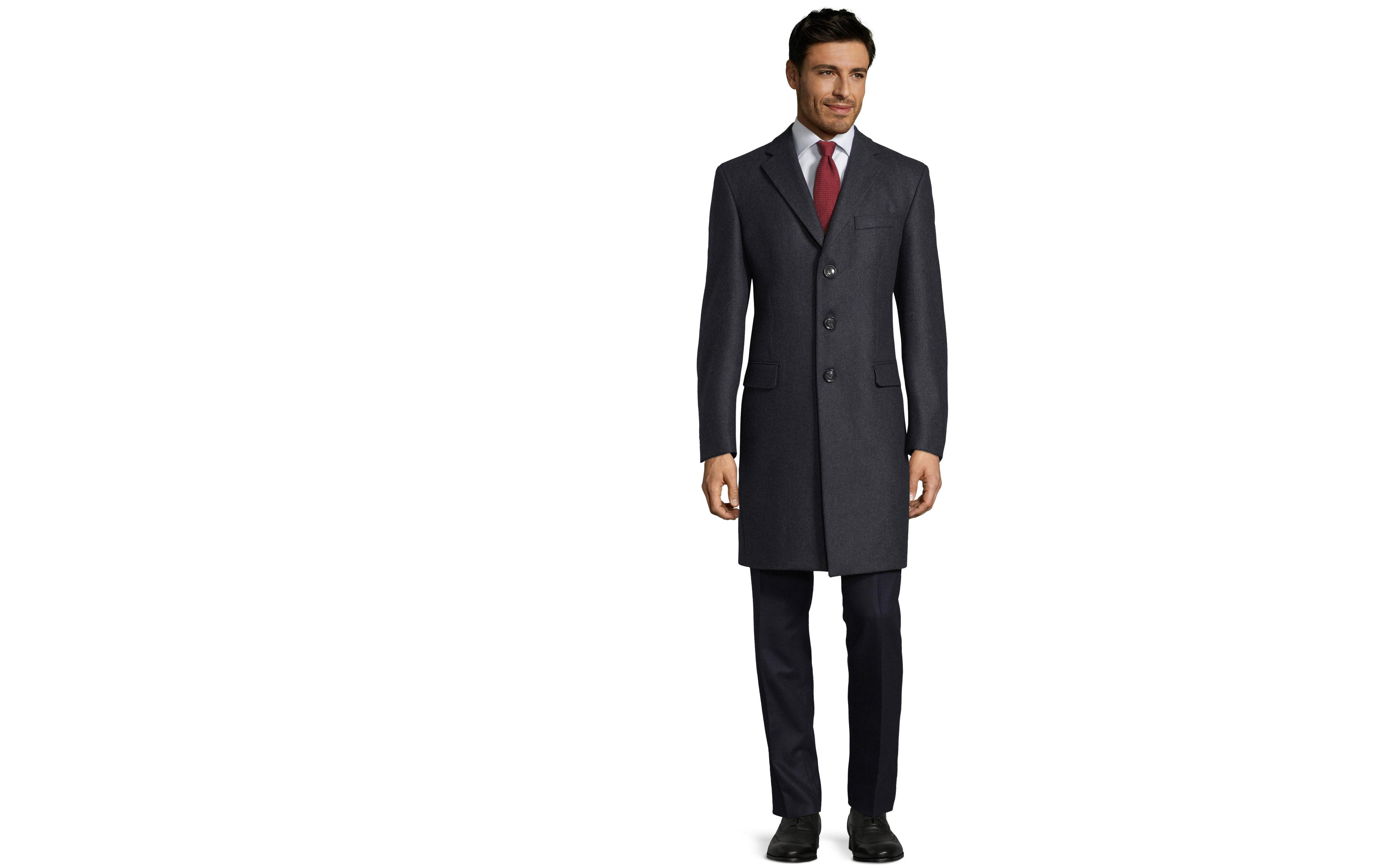 Coat in Solid Charcoal Wool