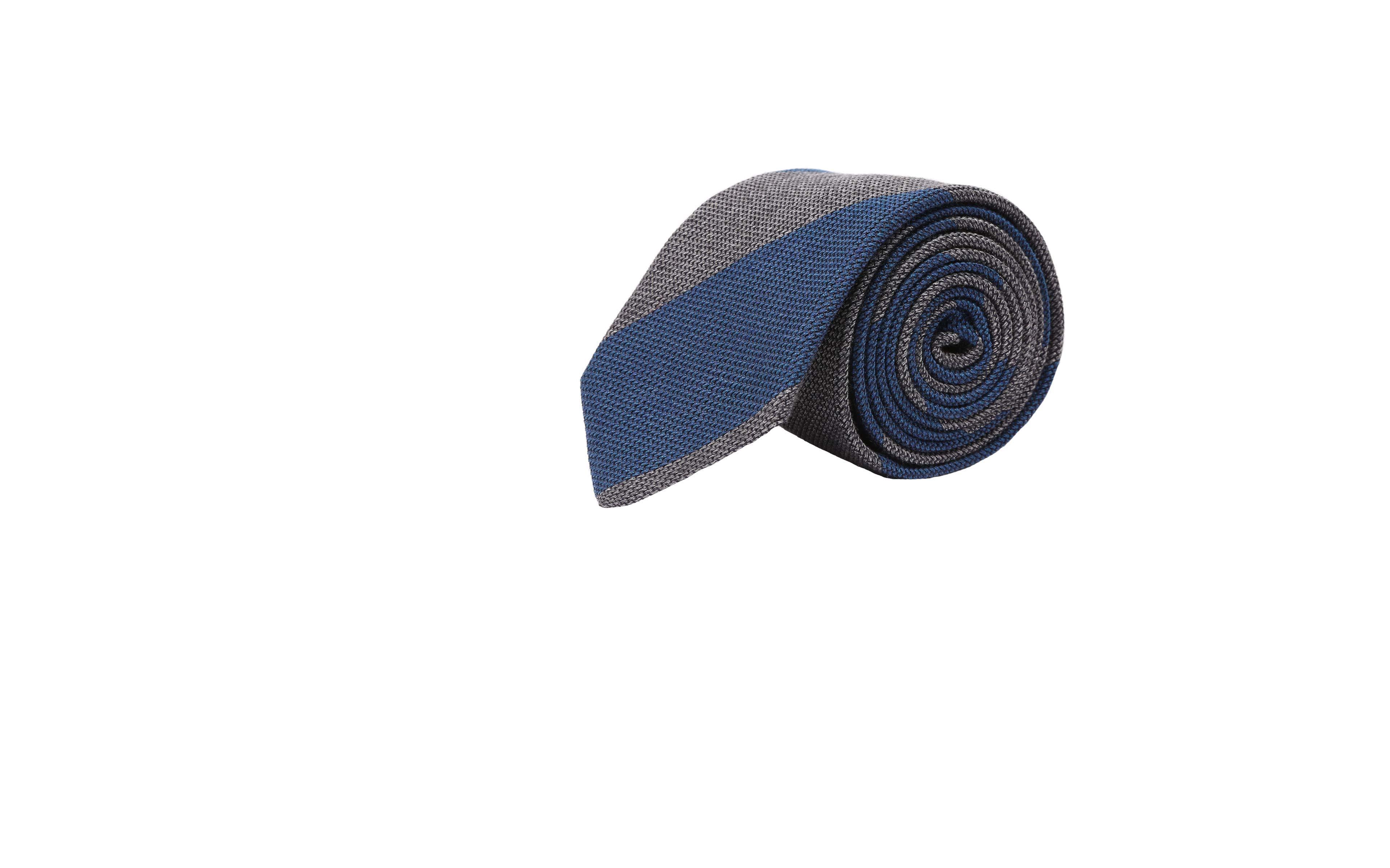 Blue & Grey Grenadine Silk Tie
