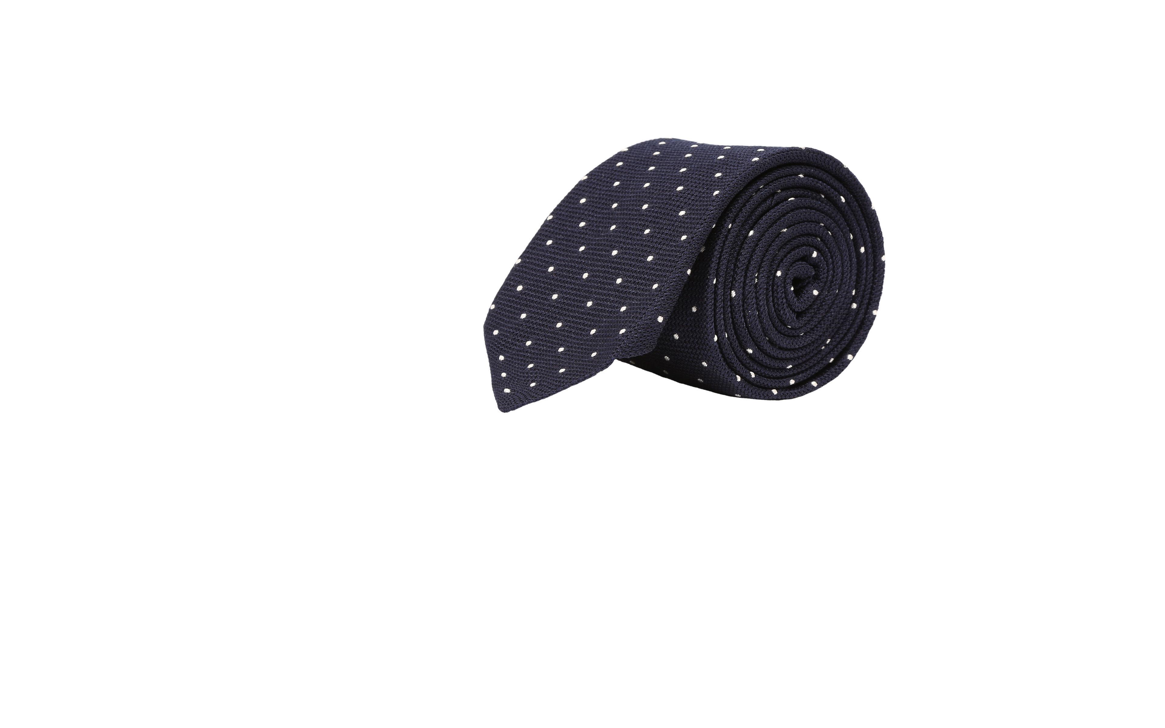 Navy Dotted Grenadine Silk Tie