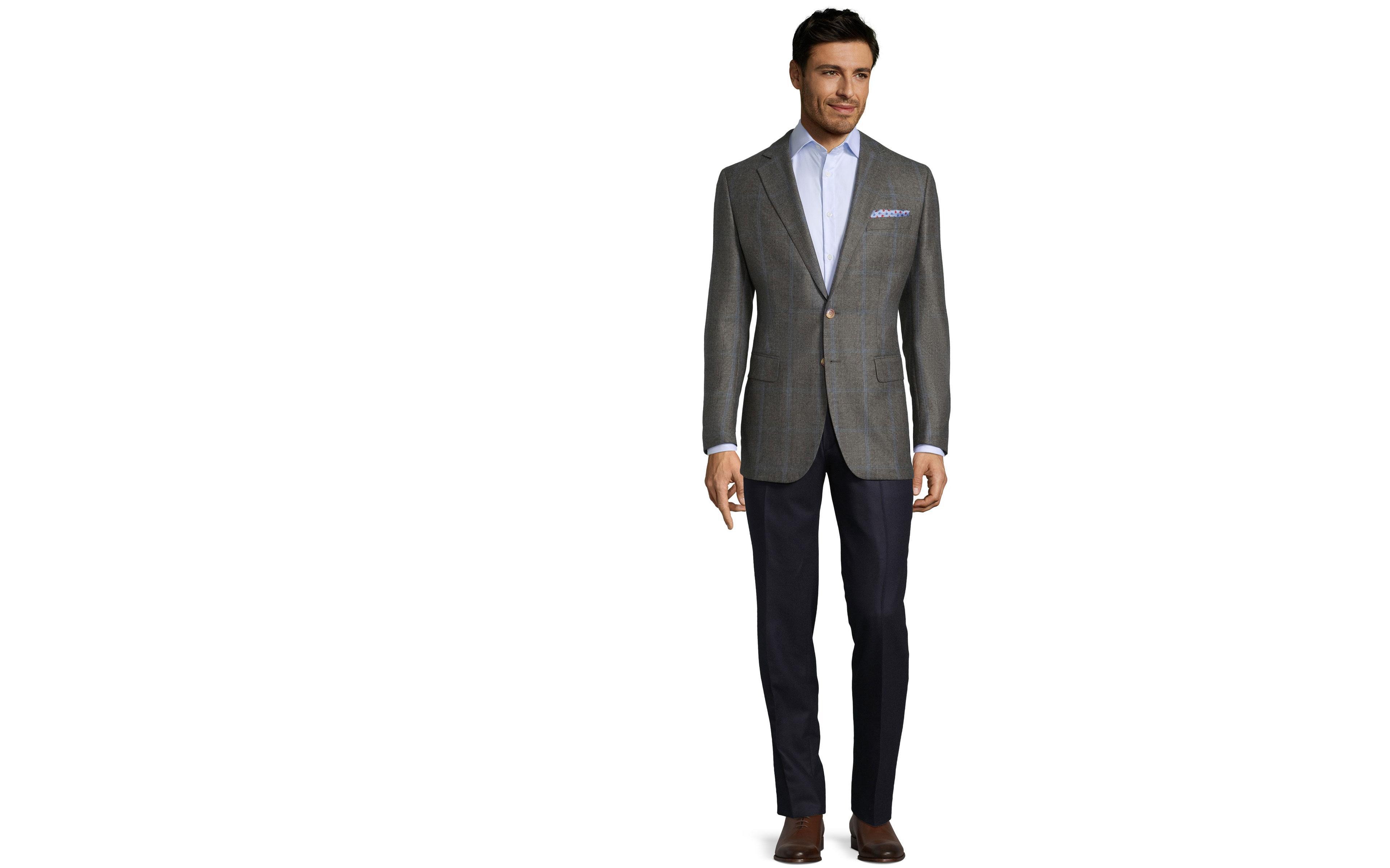 Blue Check Warm Grey Plaid Blazer