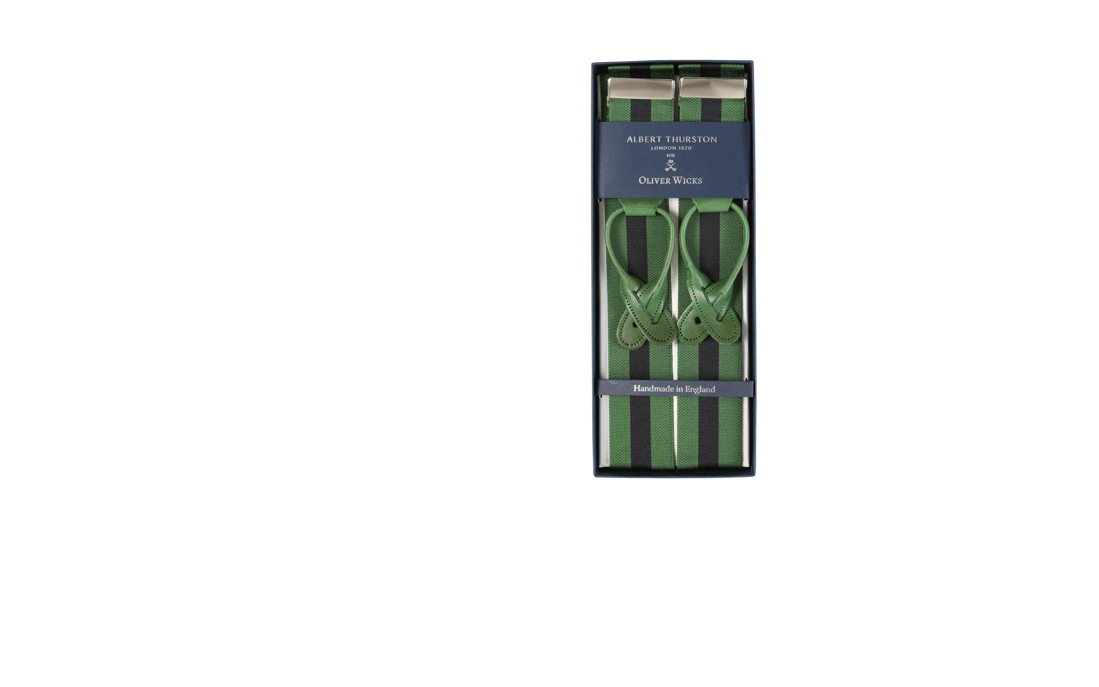 Green & Navy Striped Suspenders