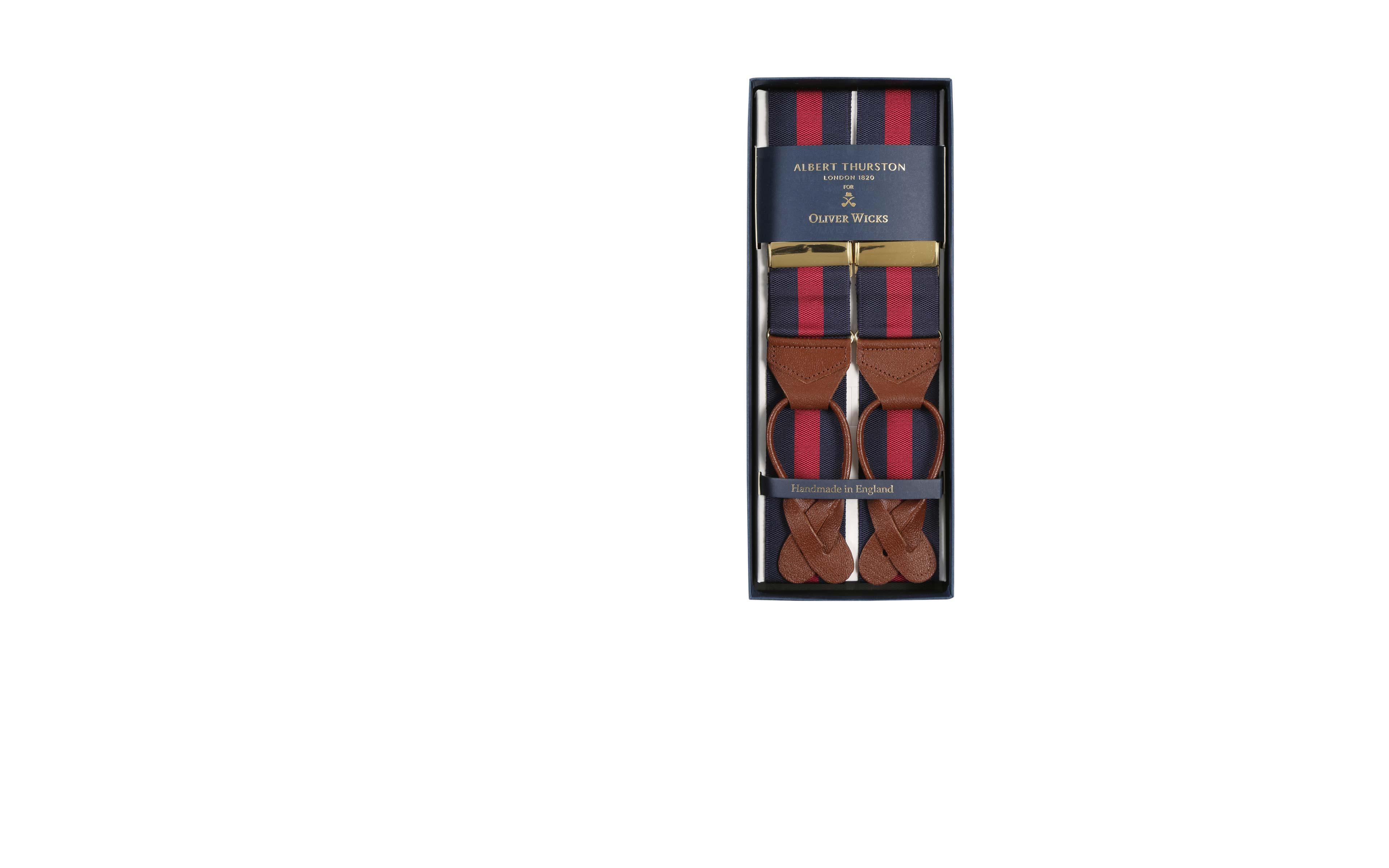 Navy & Red Striped Suspenders
