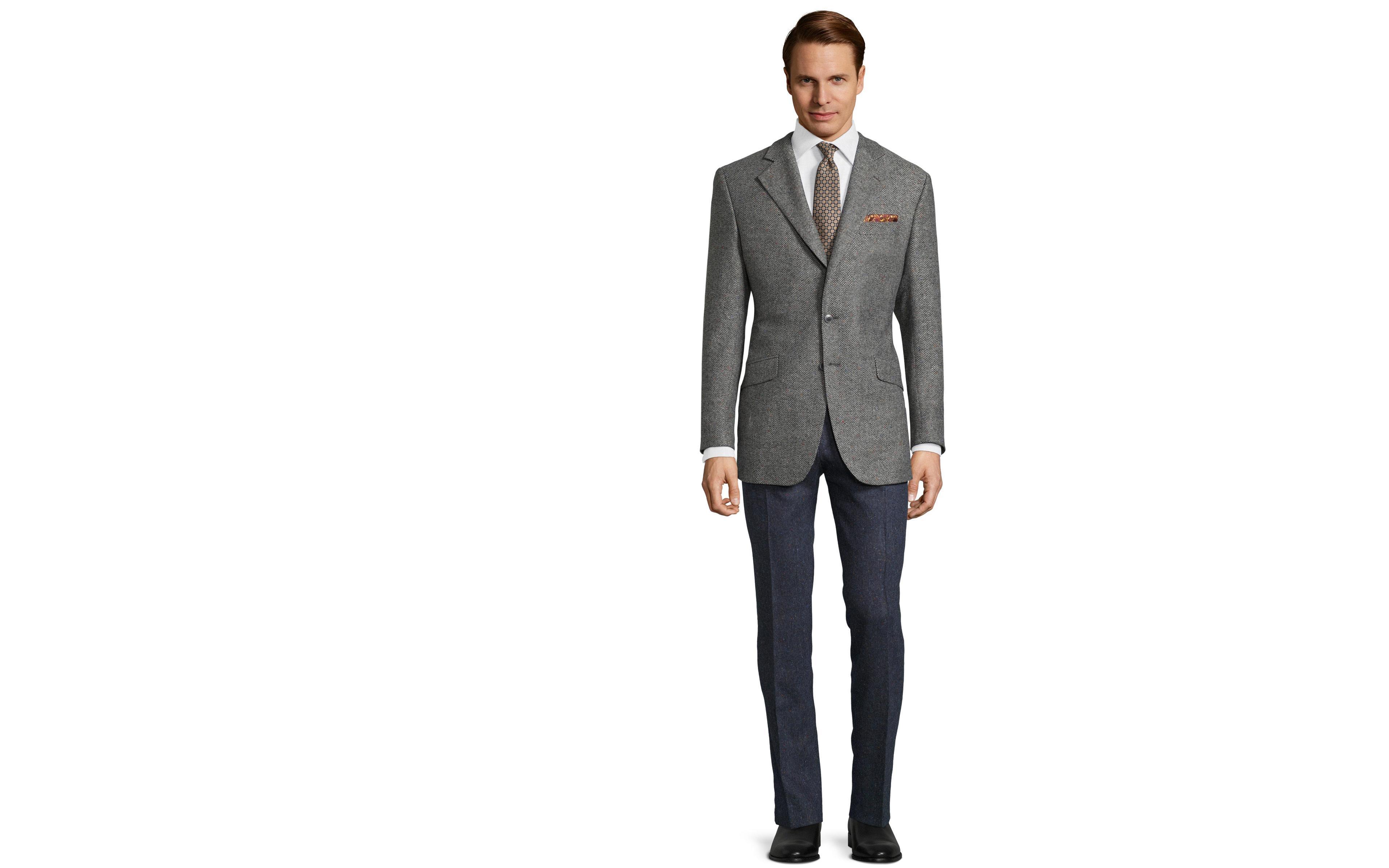 Grey Donegal Herringbone Tweed Blazer