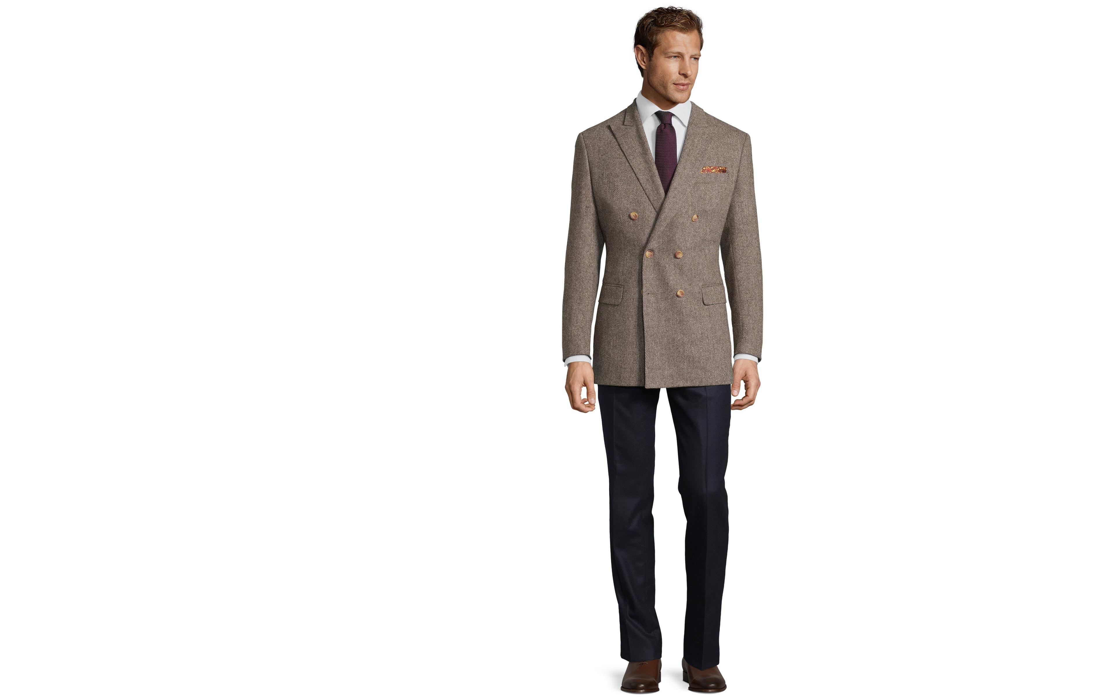 Brown Herringbone Natural Wool Tweed Blazer