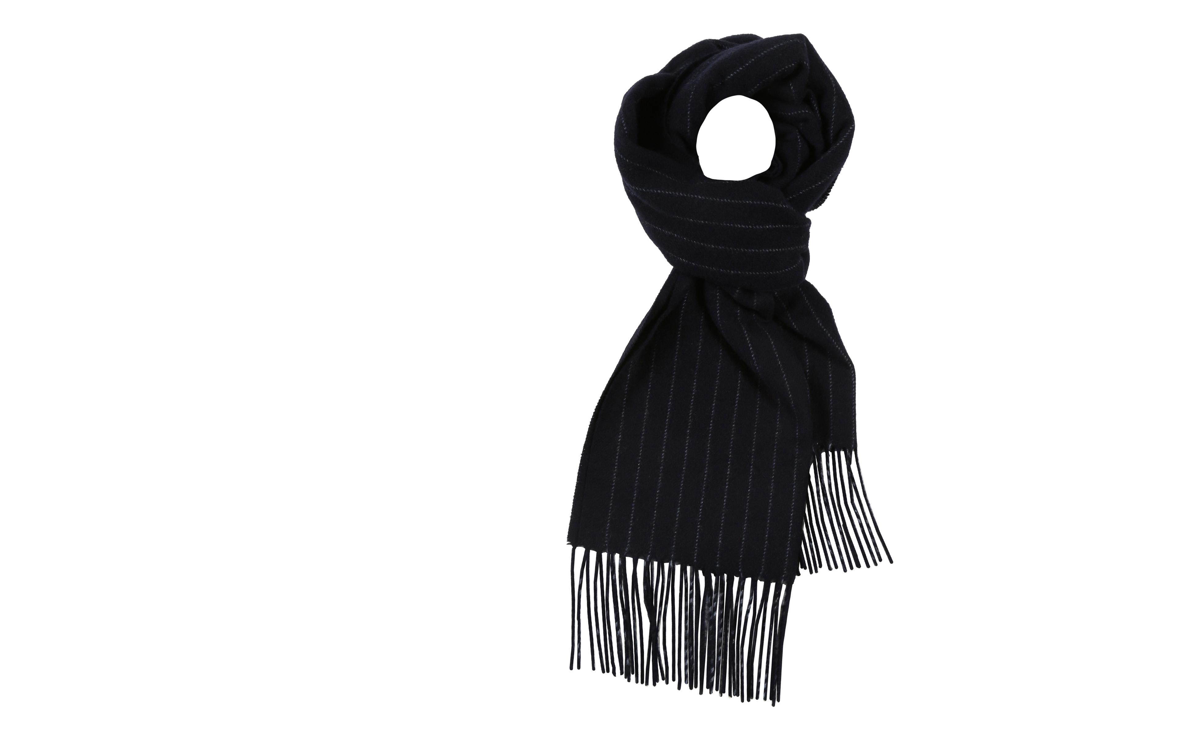Navy Striped Wool Scarf
