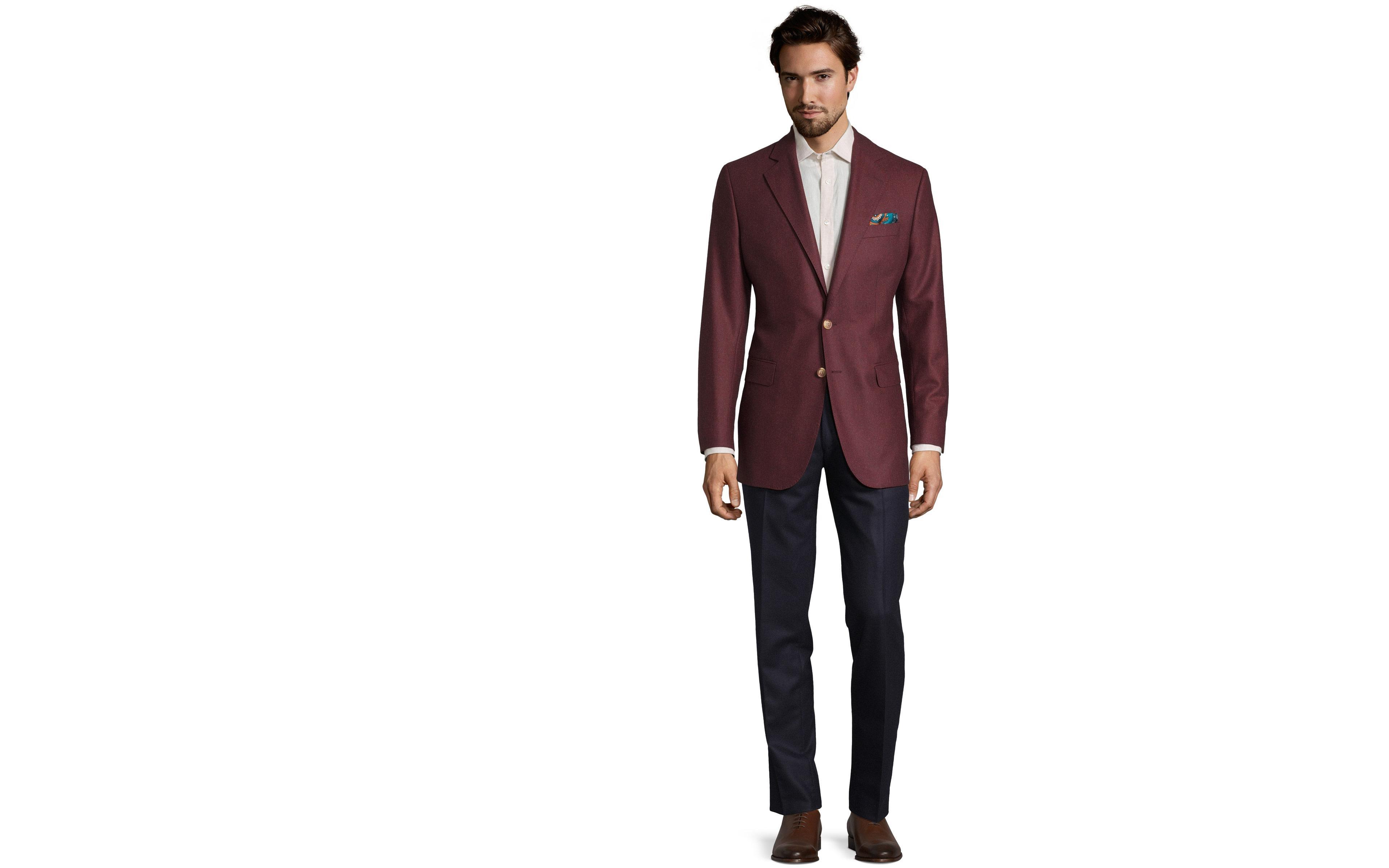 Burgundy Wool Flannel Blazer