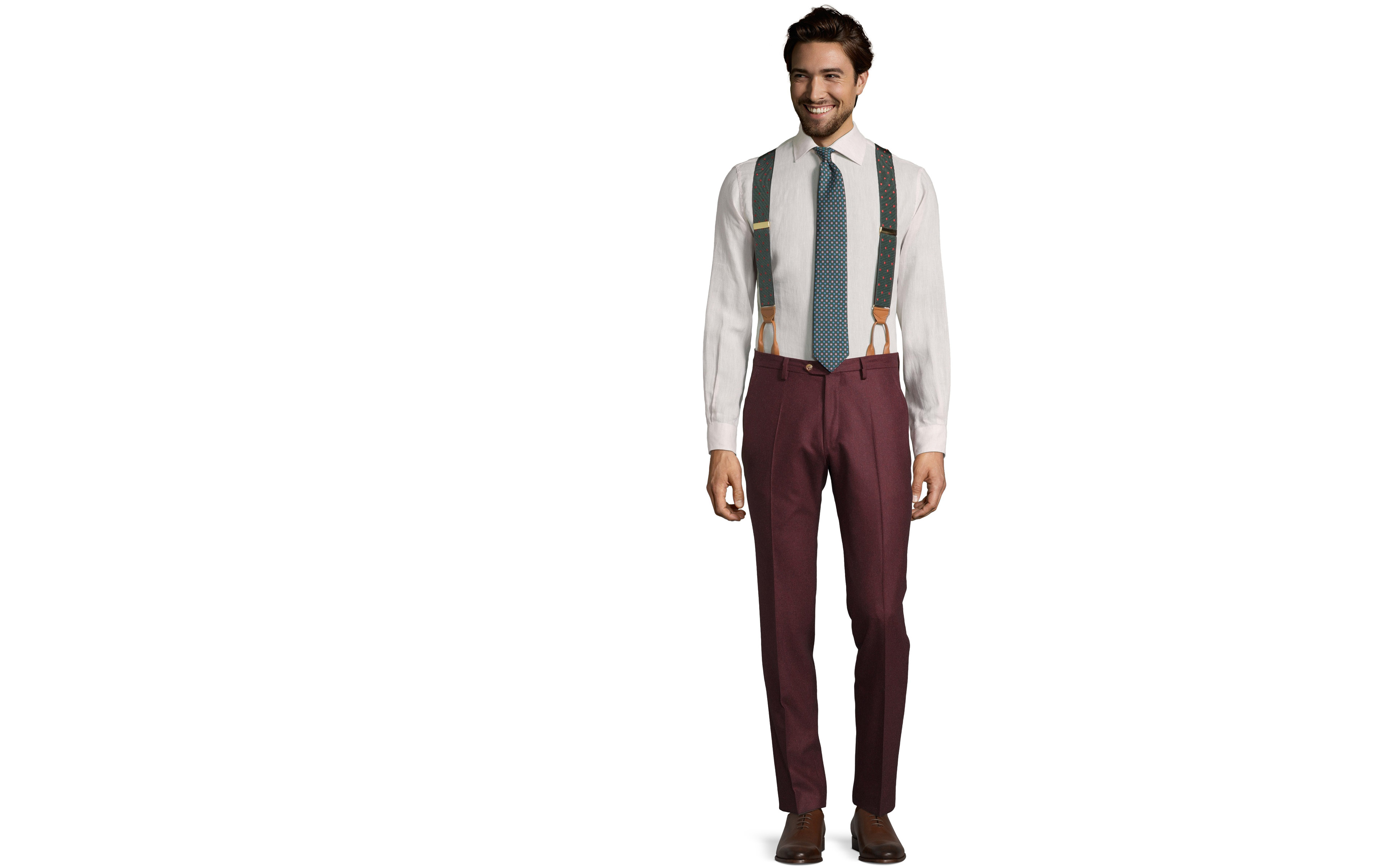 Burgundy Wool Flannel Pants