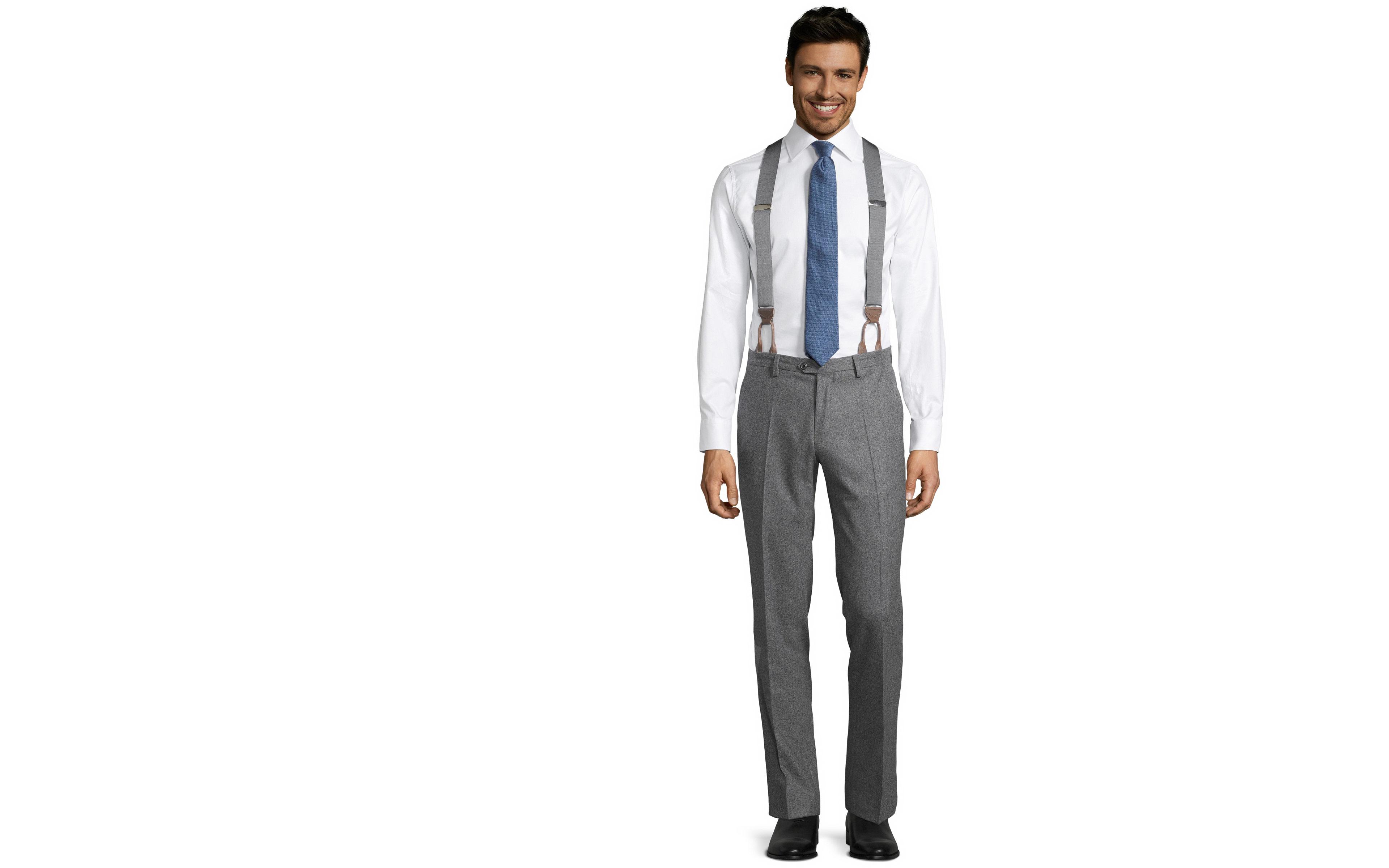 Grey Wool Flannel Pants