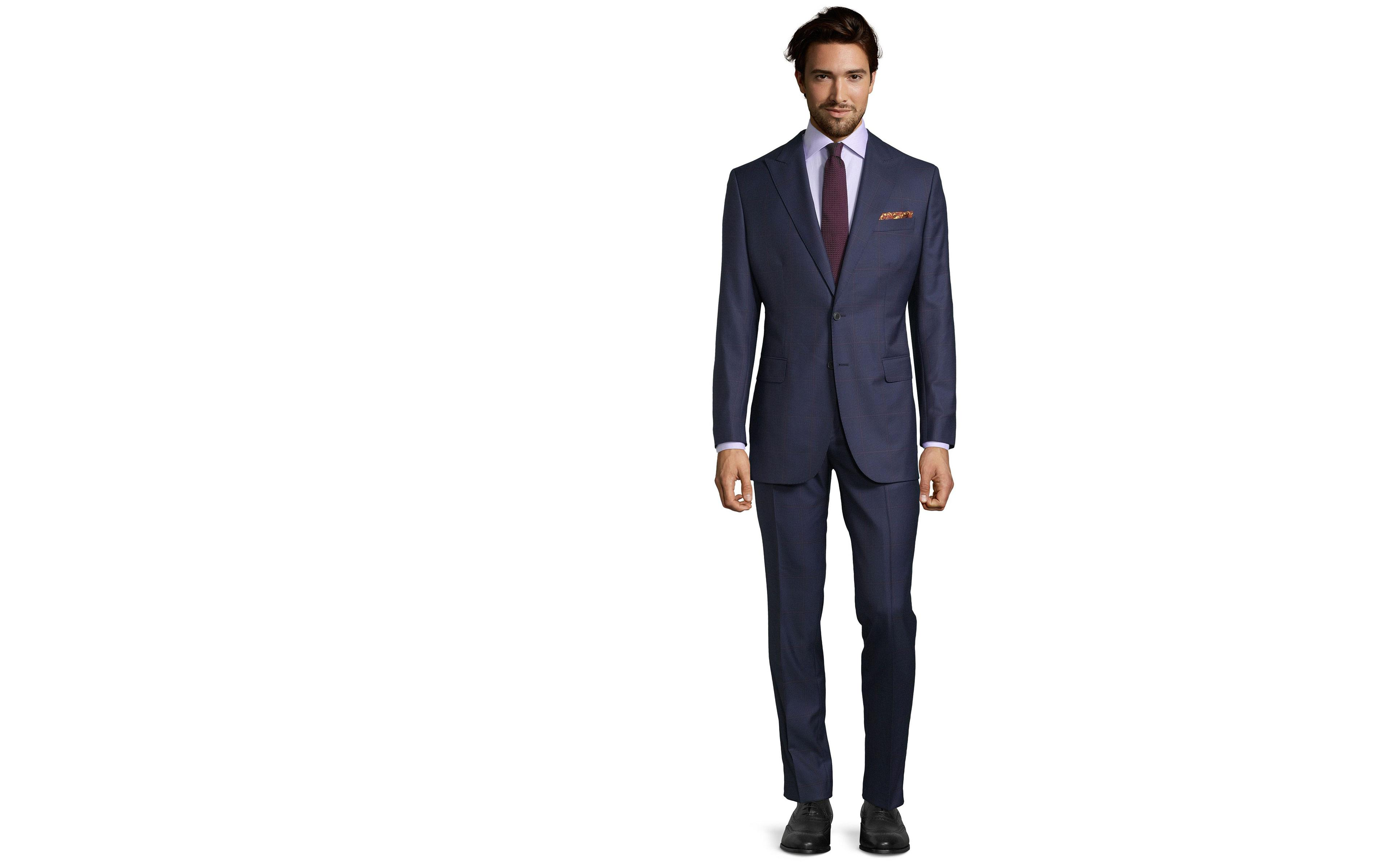 Vendetta Premium Lavender Check Navy Plaid Suit