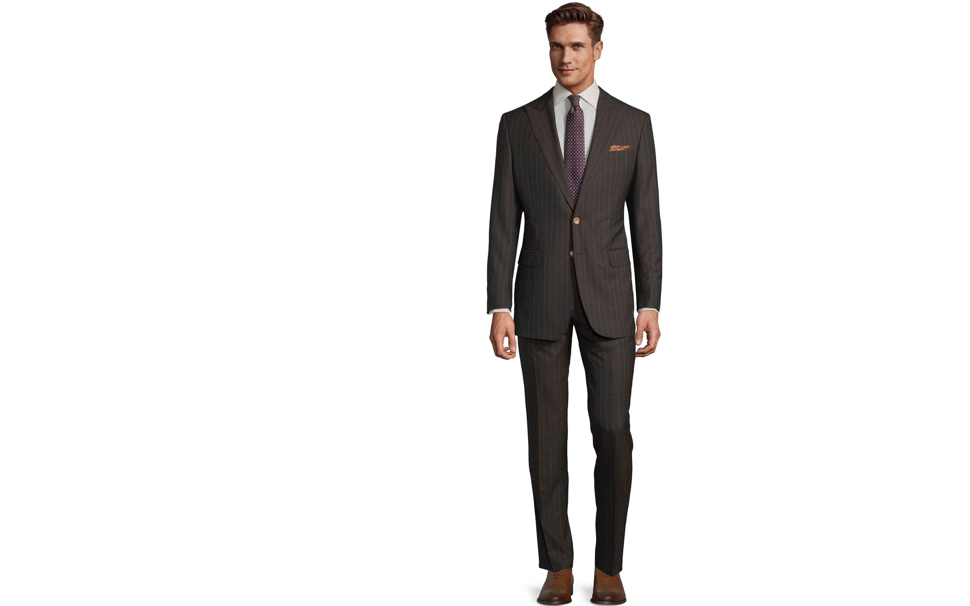 Vendetta Premium Brown Pinstripe Suit
