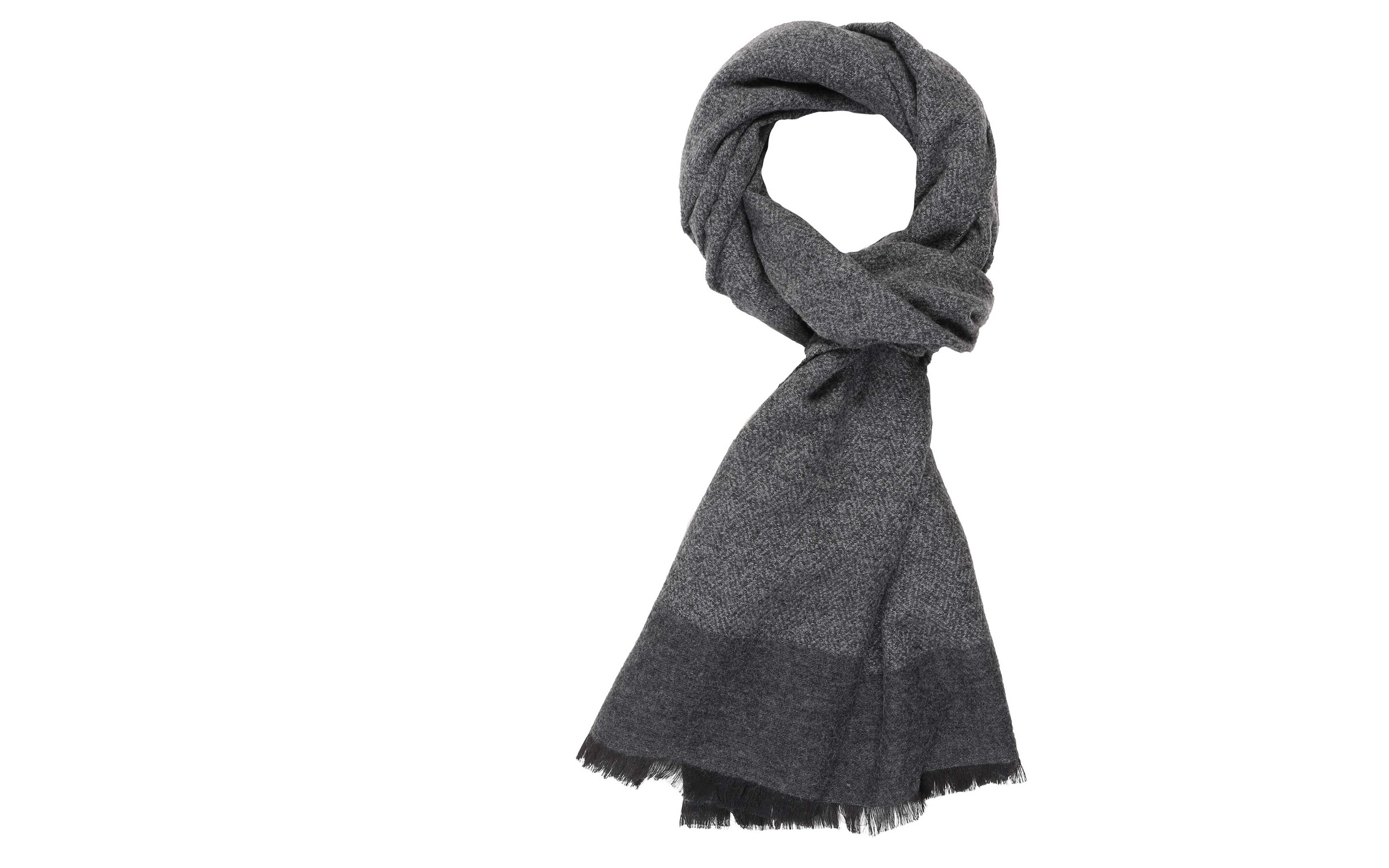 Grey Melange Wool & Silk Scarf