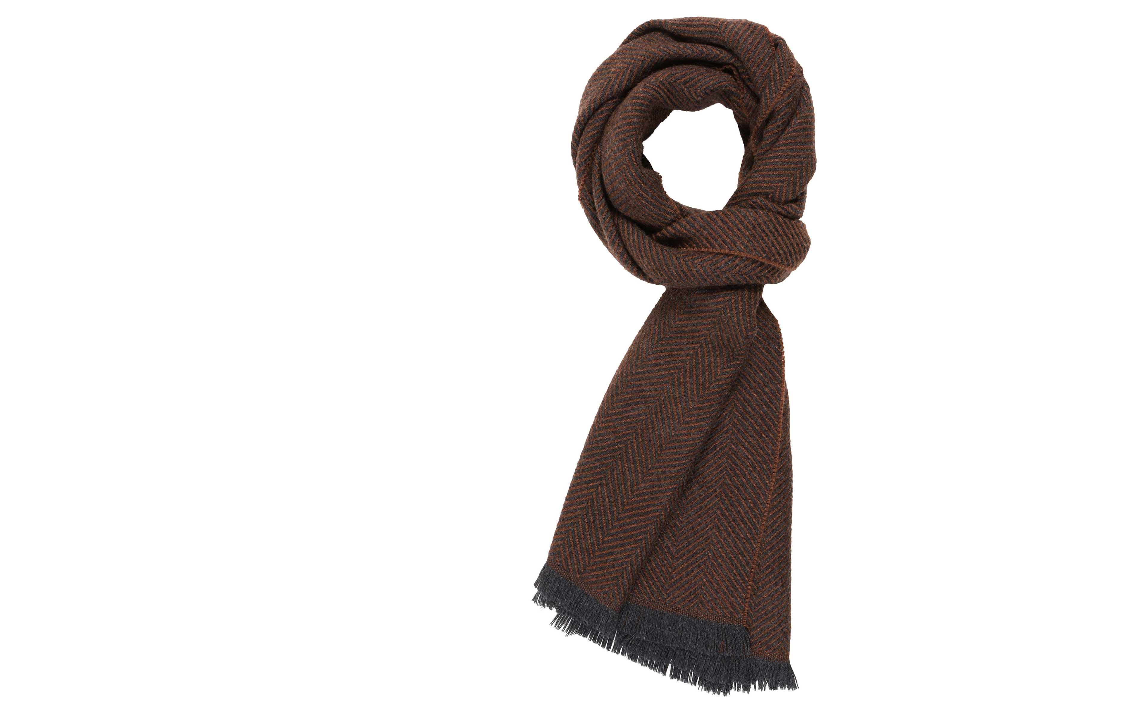 Tobacco Herringbone Wool Scarf