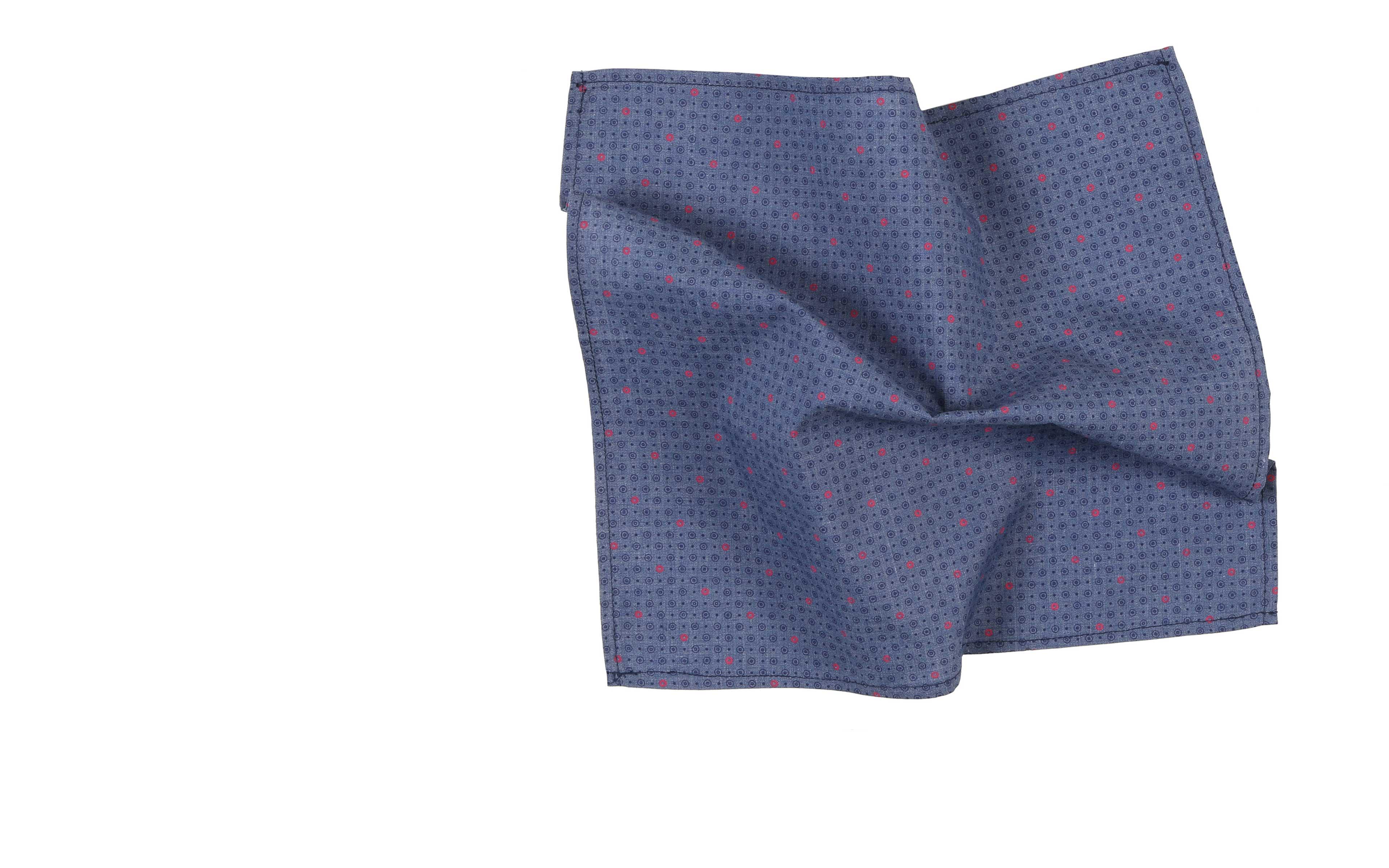 Magenta and Navy Circles Pattern Cotton Pocket Square