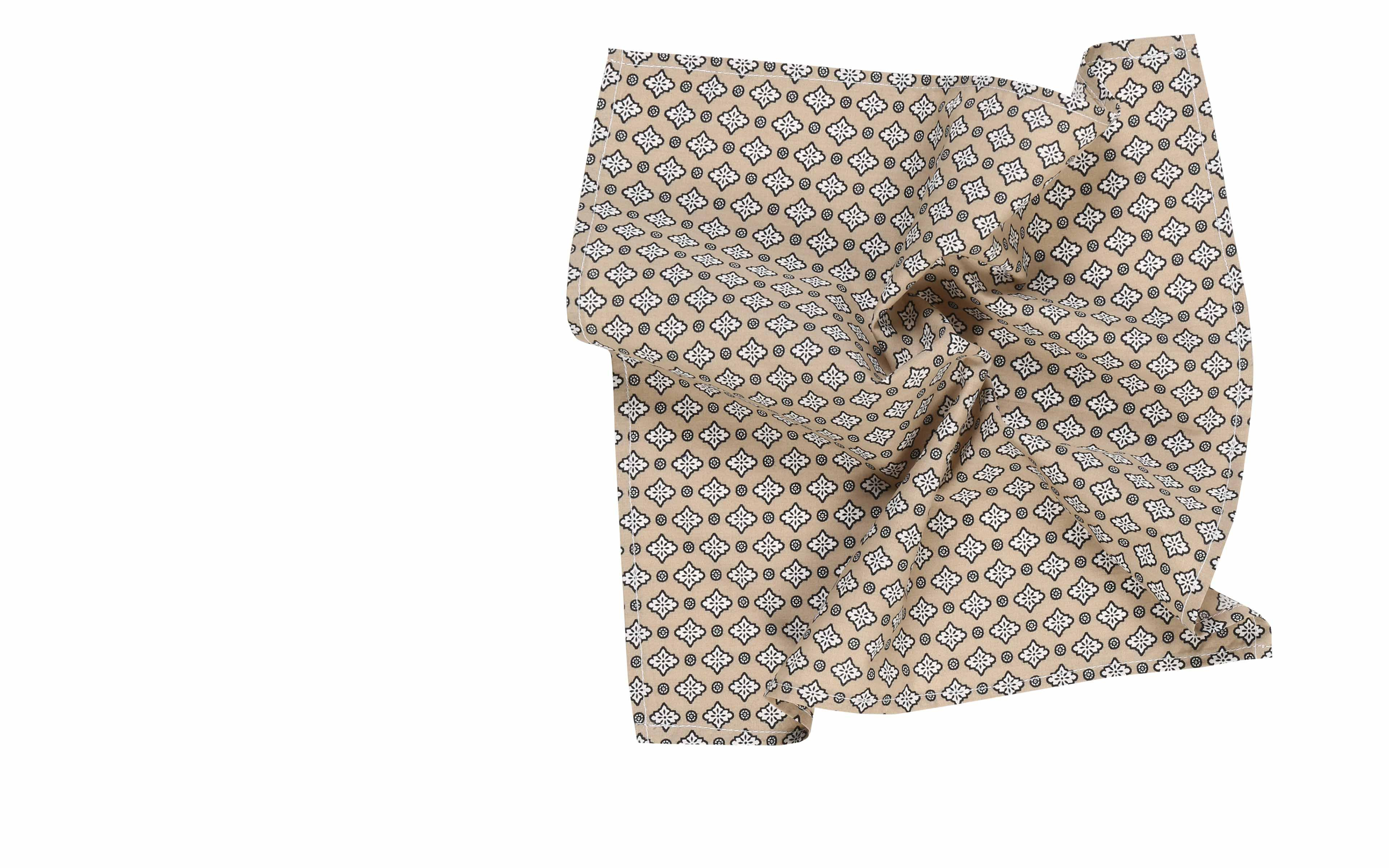 Taupe Patterned Cotton Pocket Square