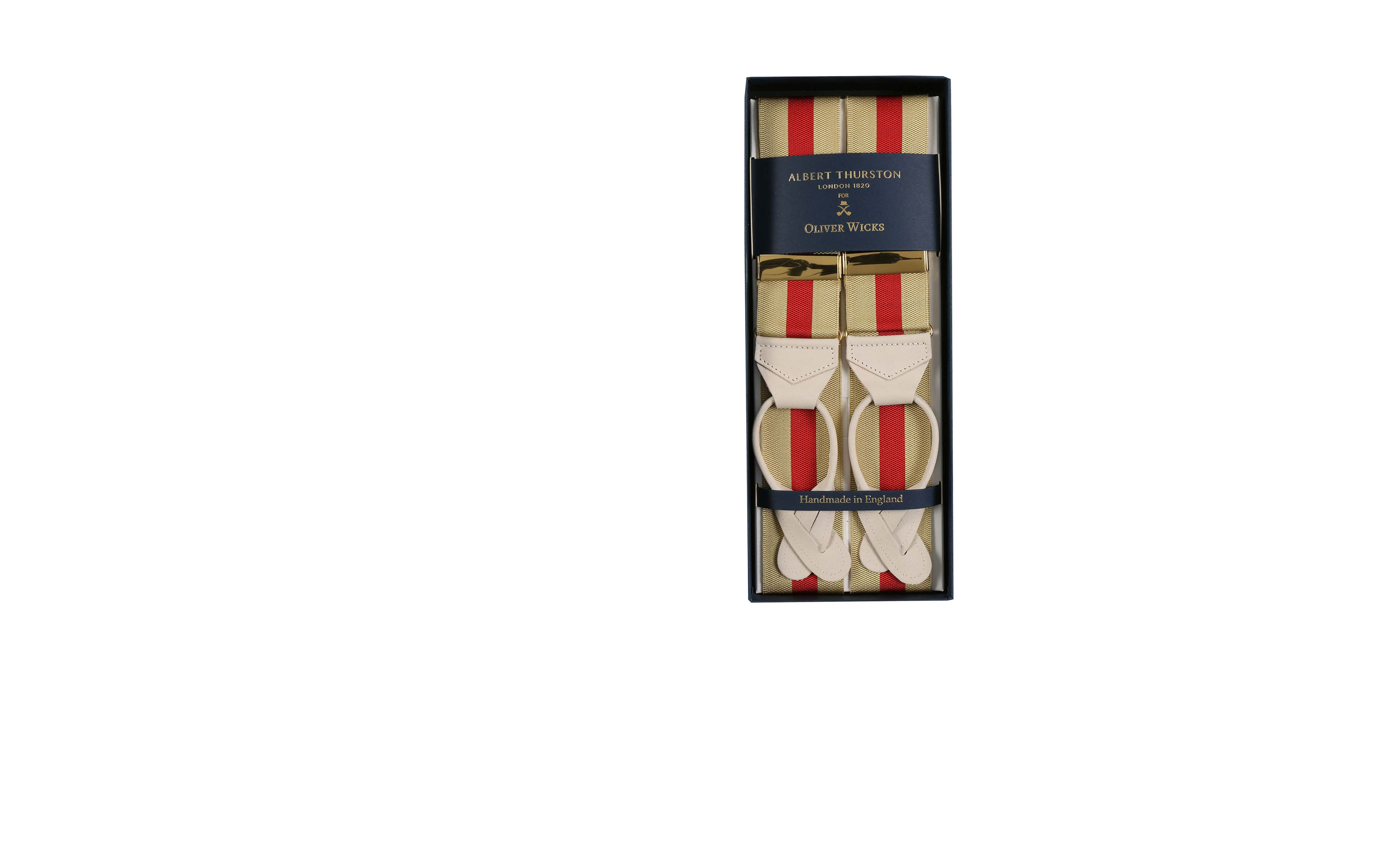 Beige & Red Striped Suspenders