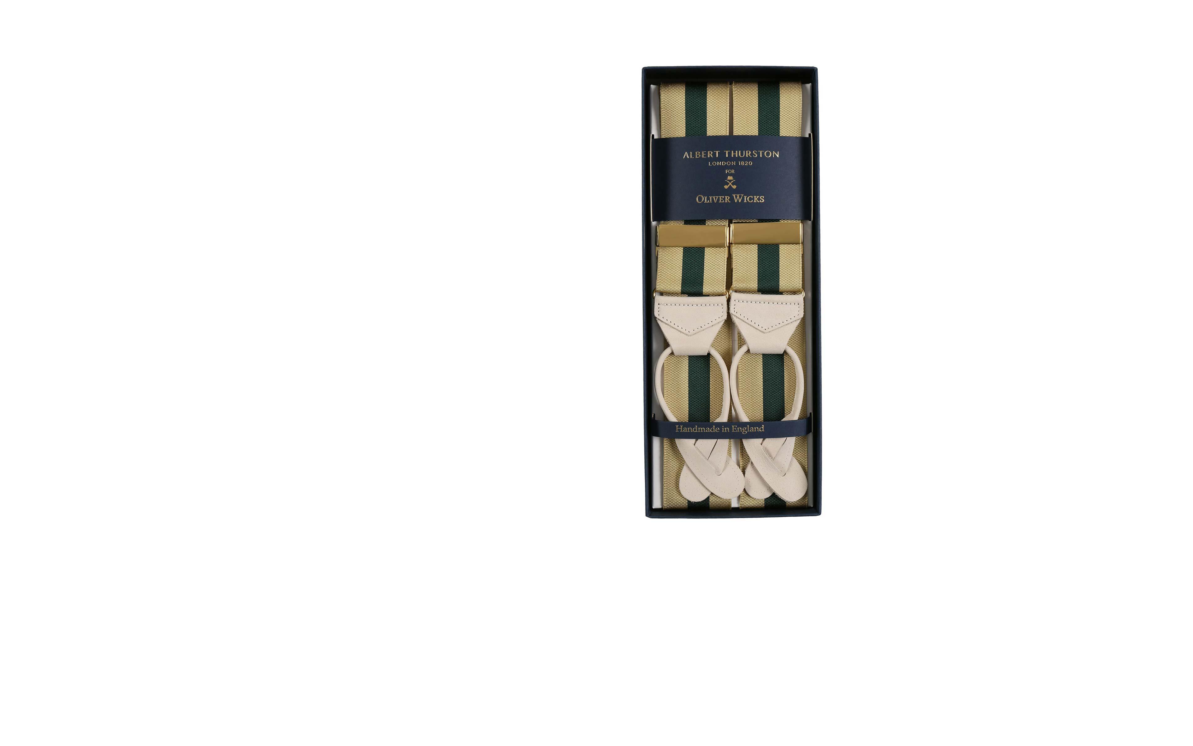 Beige & Green Striped Suspenders