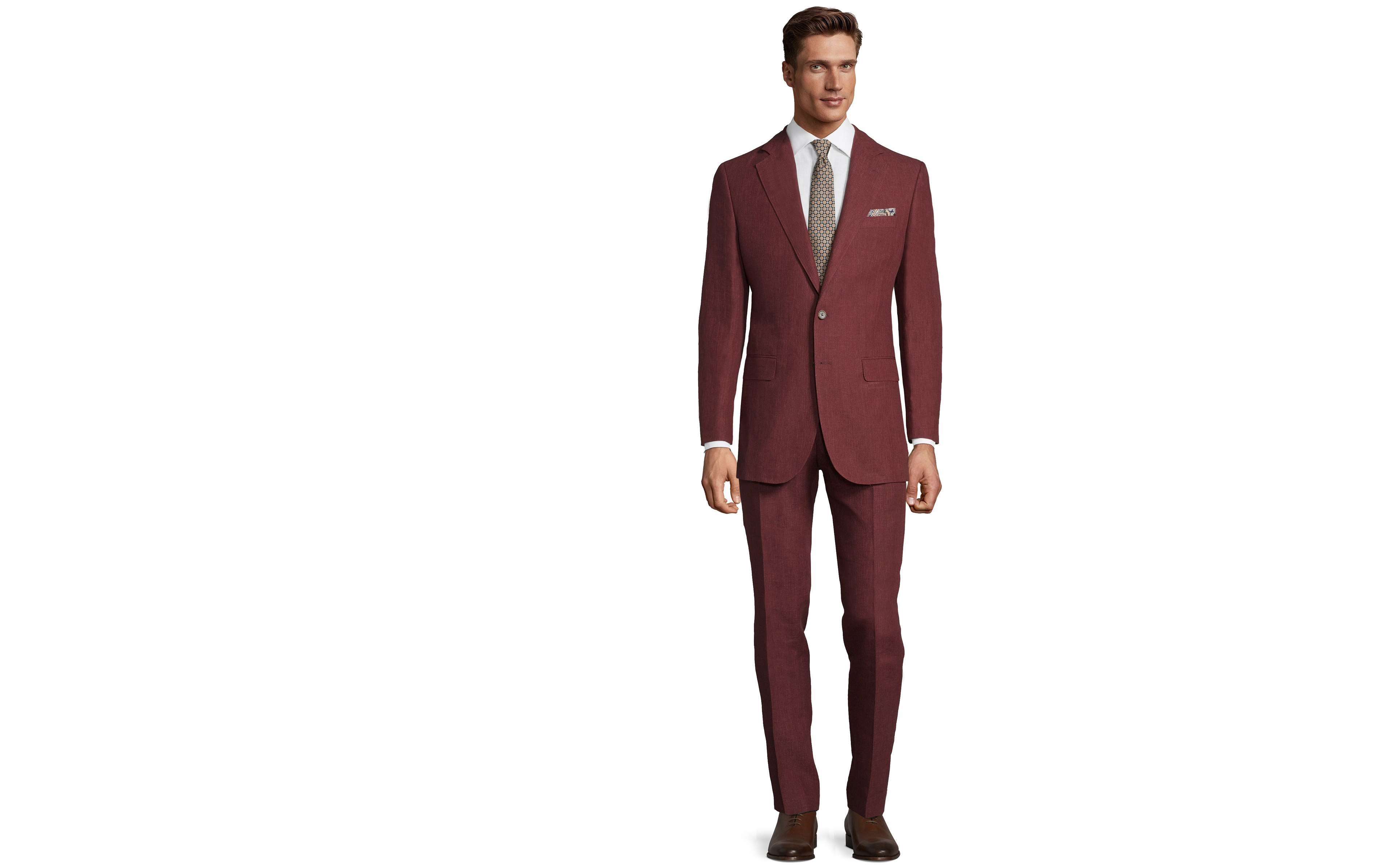 Intense Ruby Red Linen Suit
