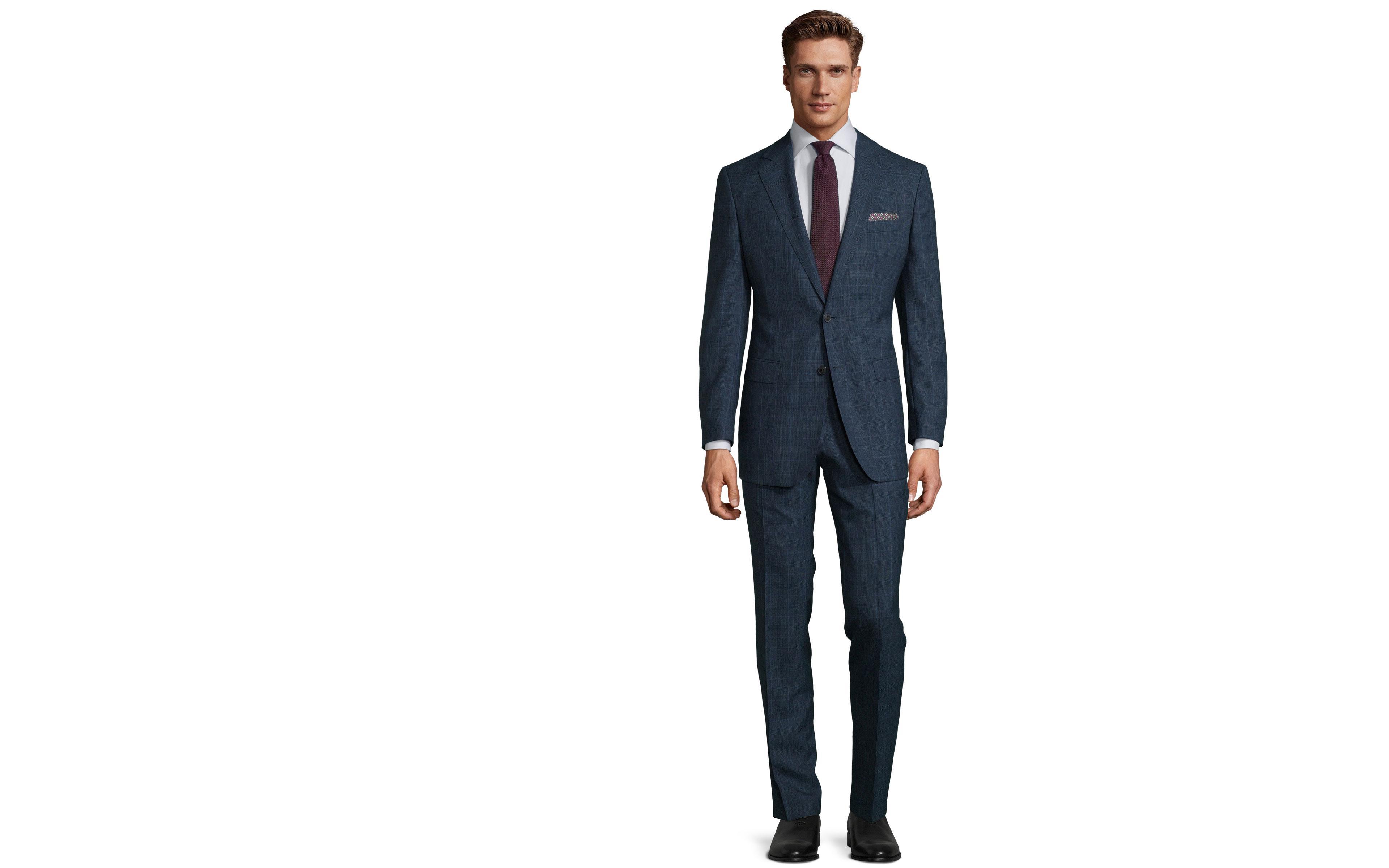 Tropical Rustic Royal Blue Plaid Suit