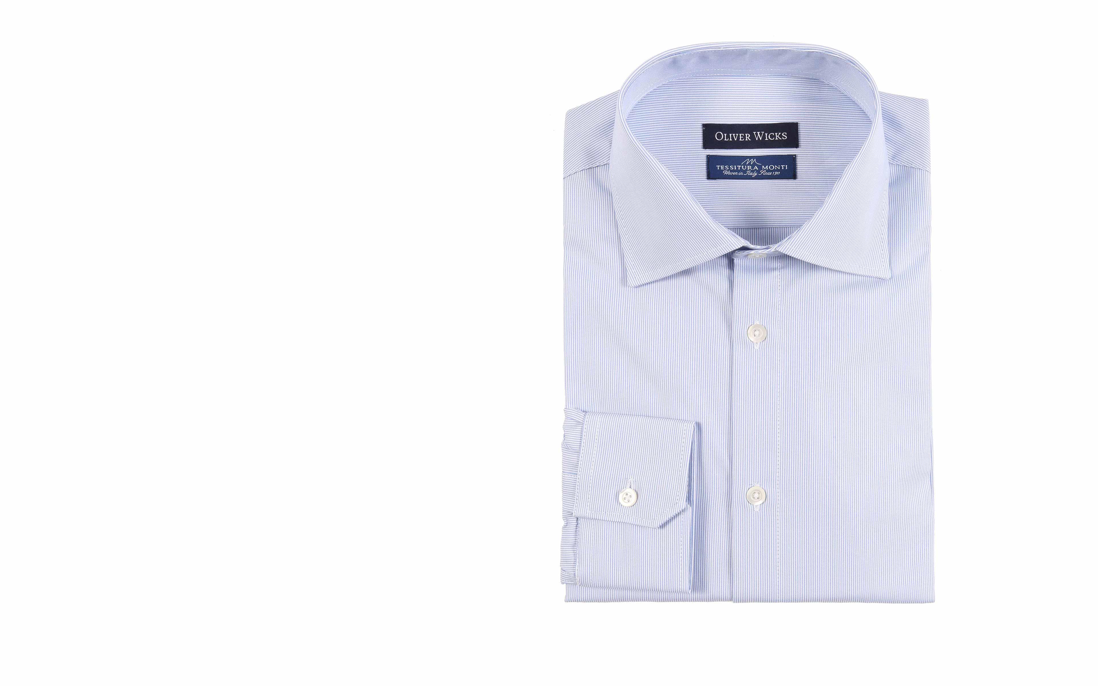 Light Blue Striped Micropattern Broadcloth Cotton Shirt