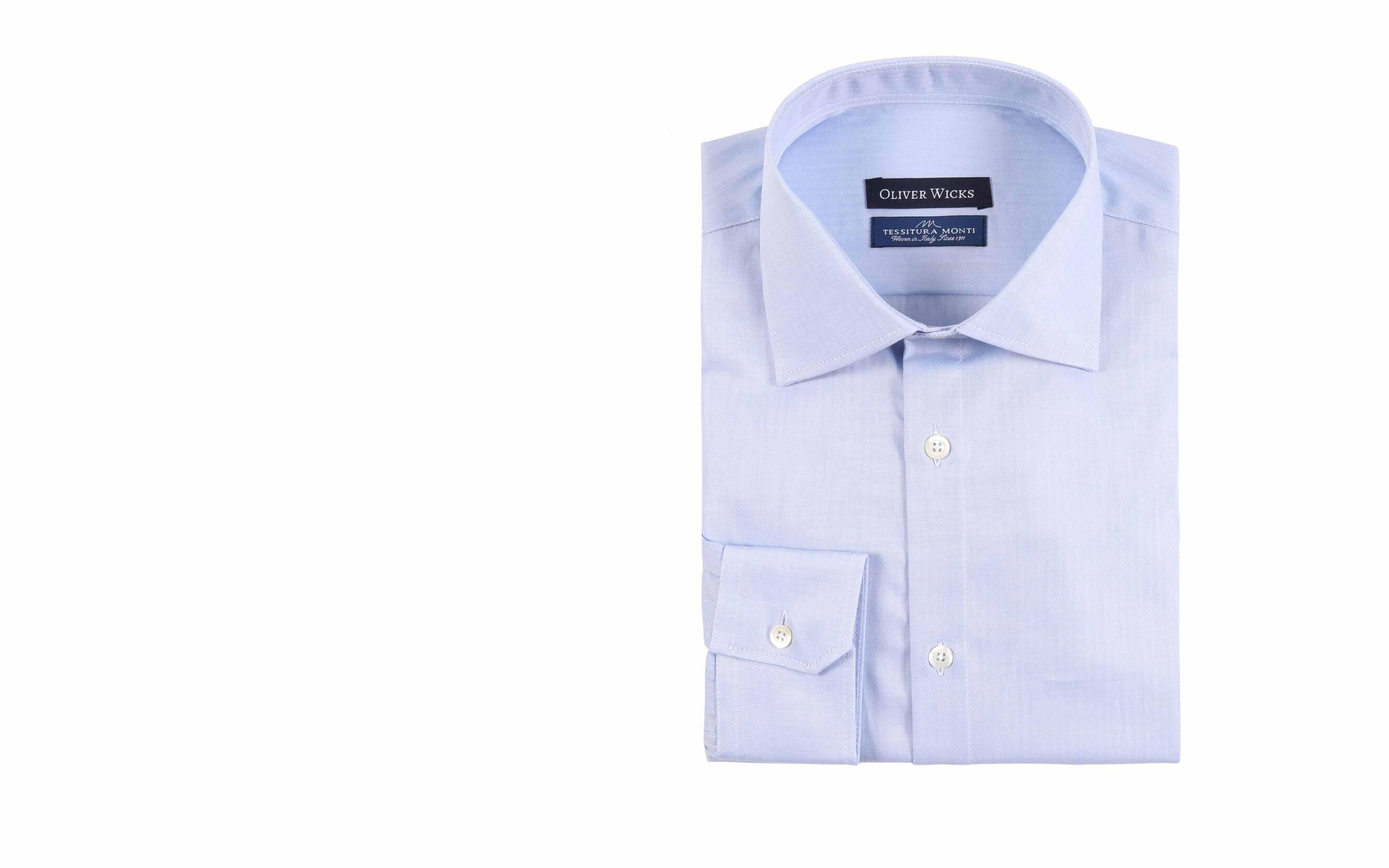 Light Blue Herringbone Cotton Shirt