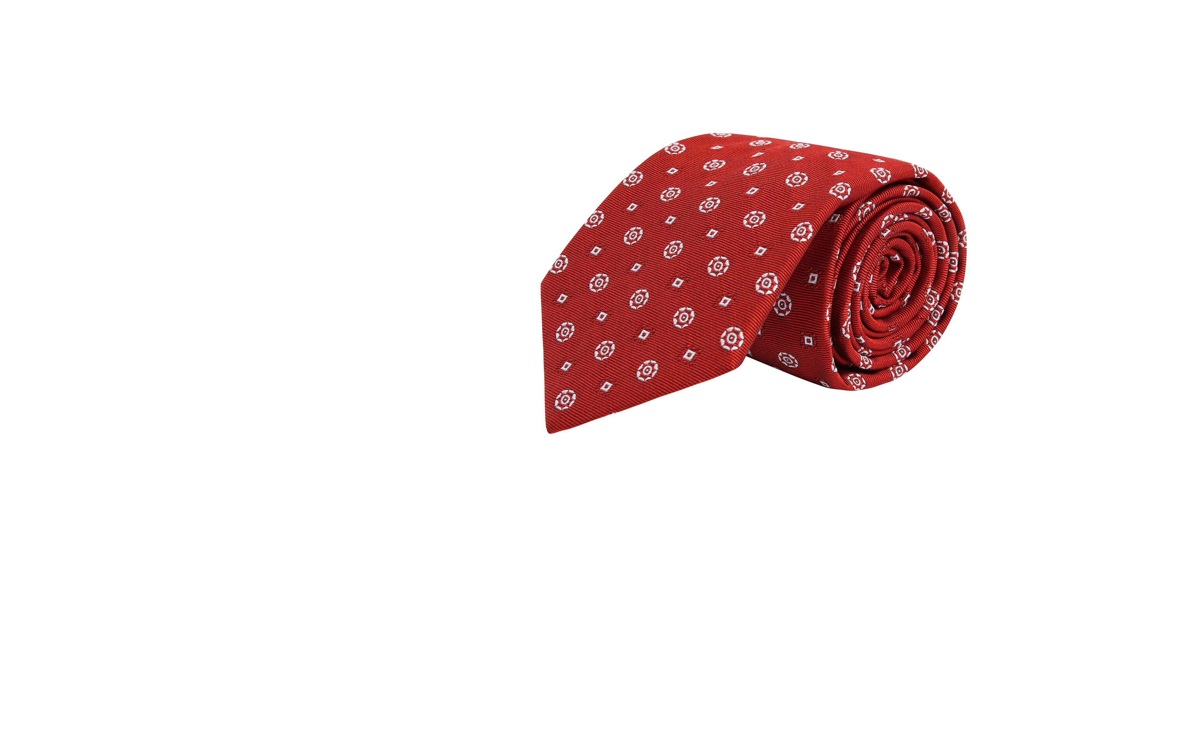 White Shapes Red Silk Tie
