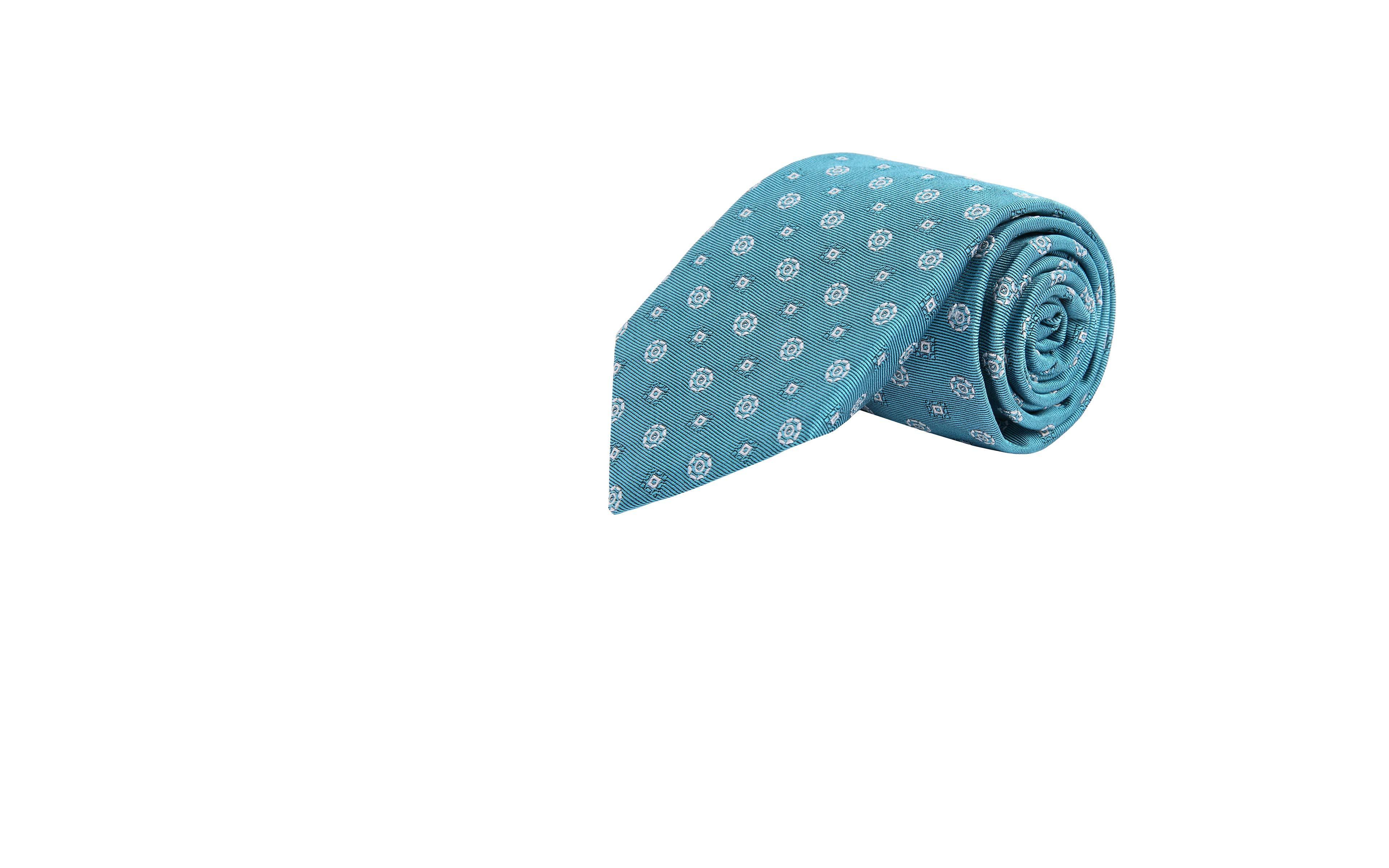 White Shapes Sky Blue Silk Tie