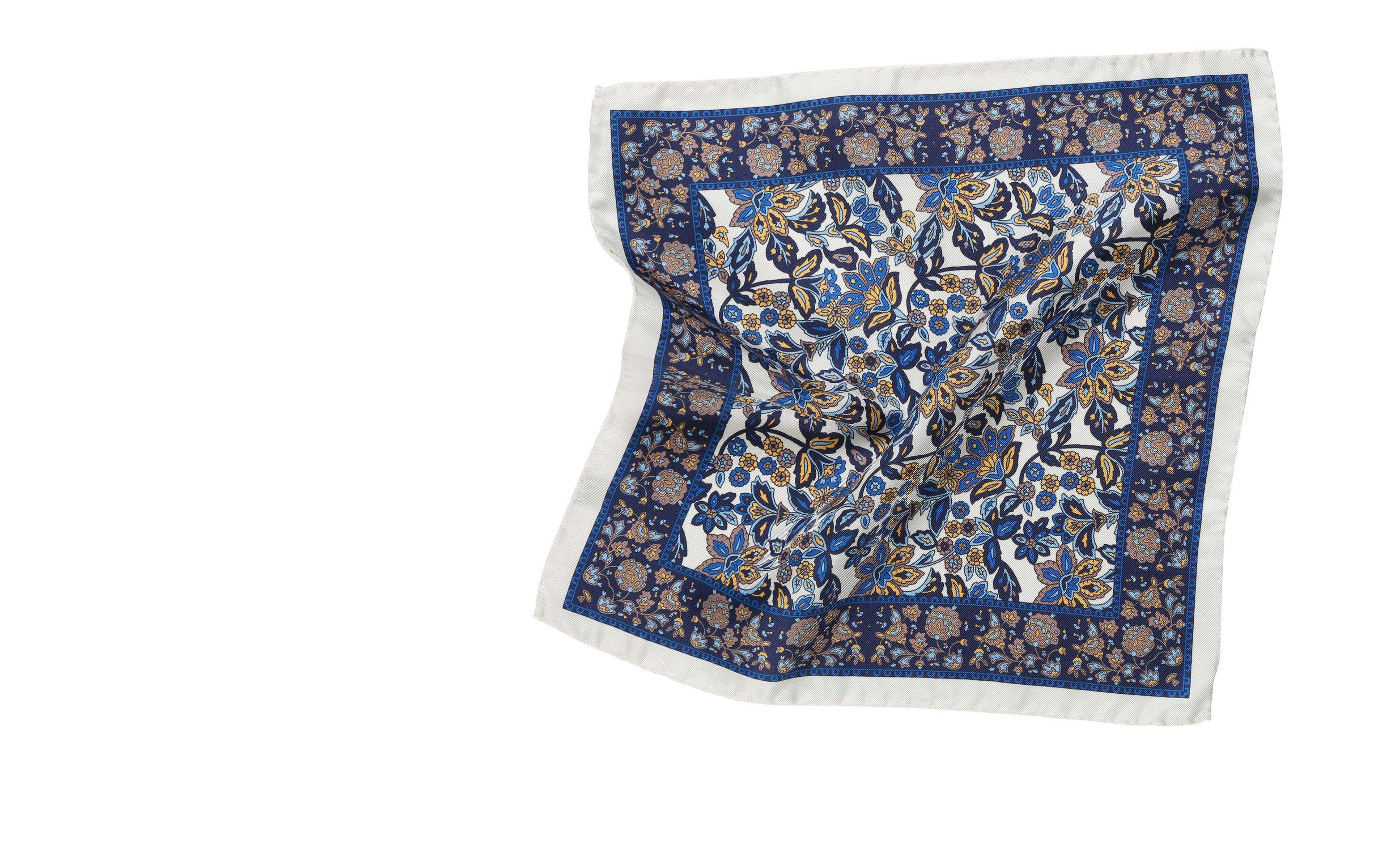 White & Navy Floral Italian 100% Silk Pocket Square