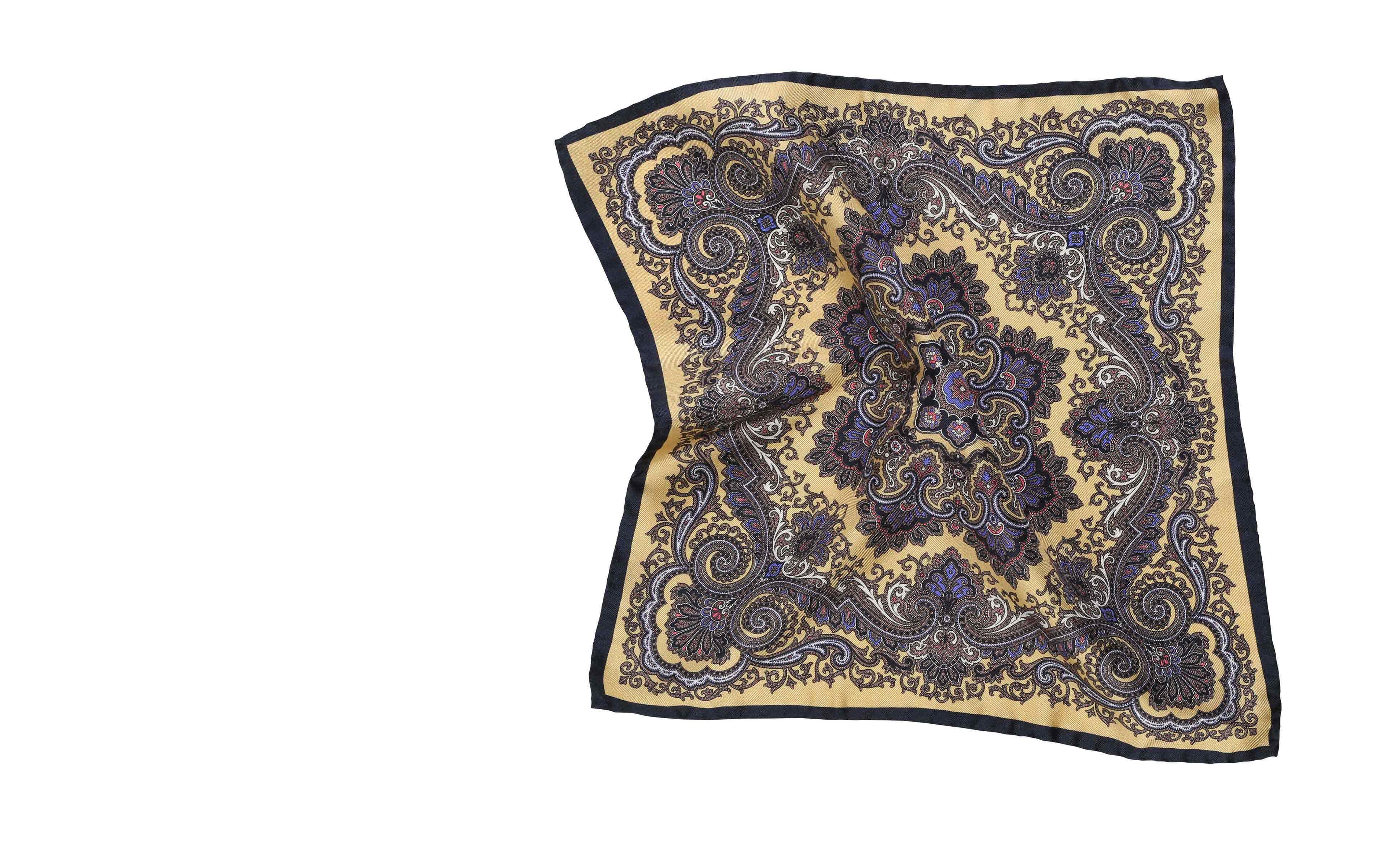 Bronze & Navy Italian 100% Silk Pocket Square