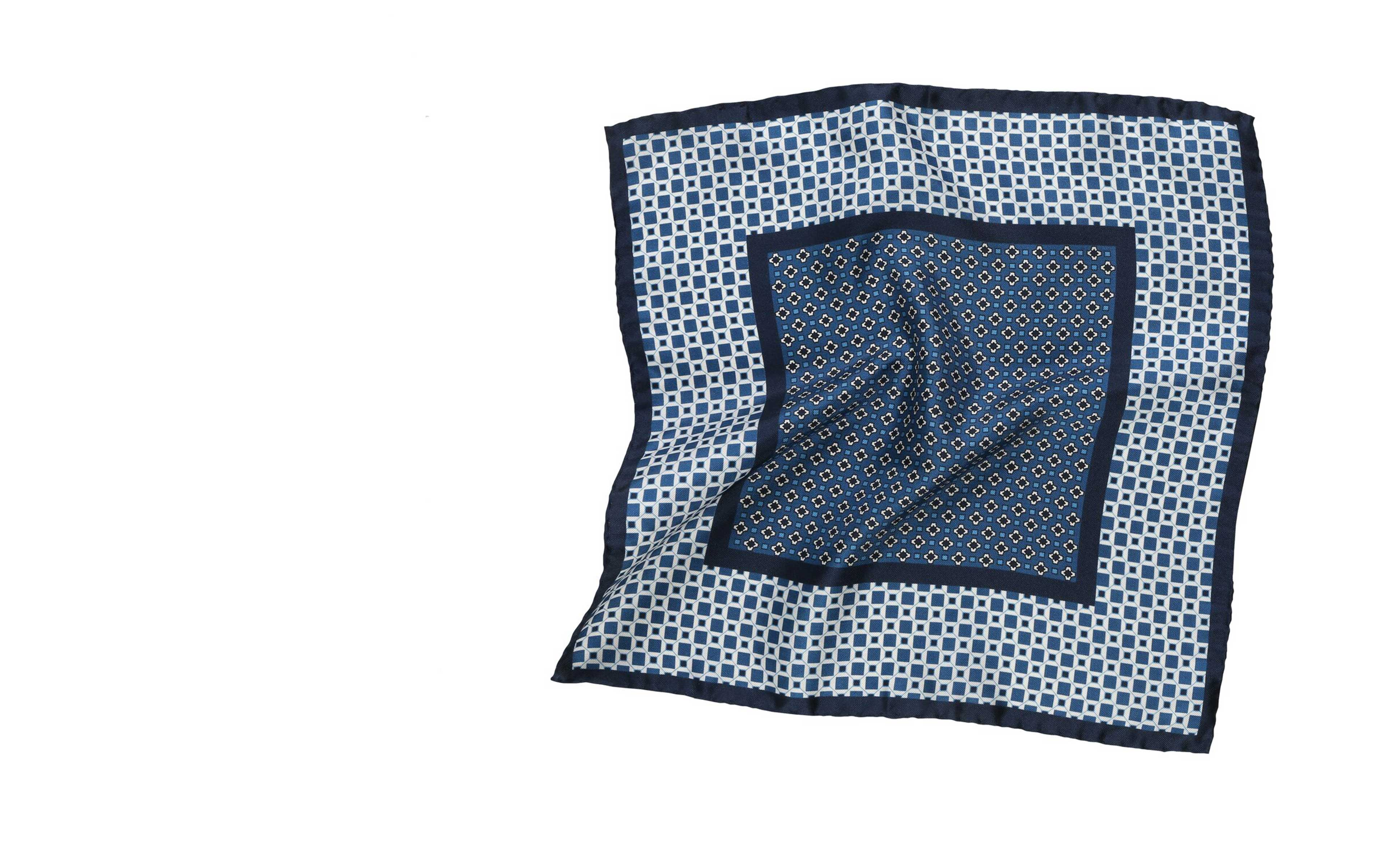 Navy & White Italian 100% Silk Pocket Square