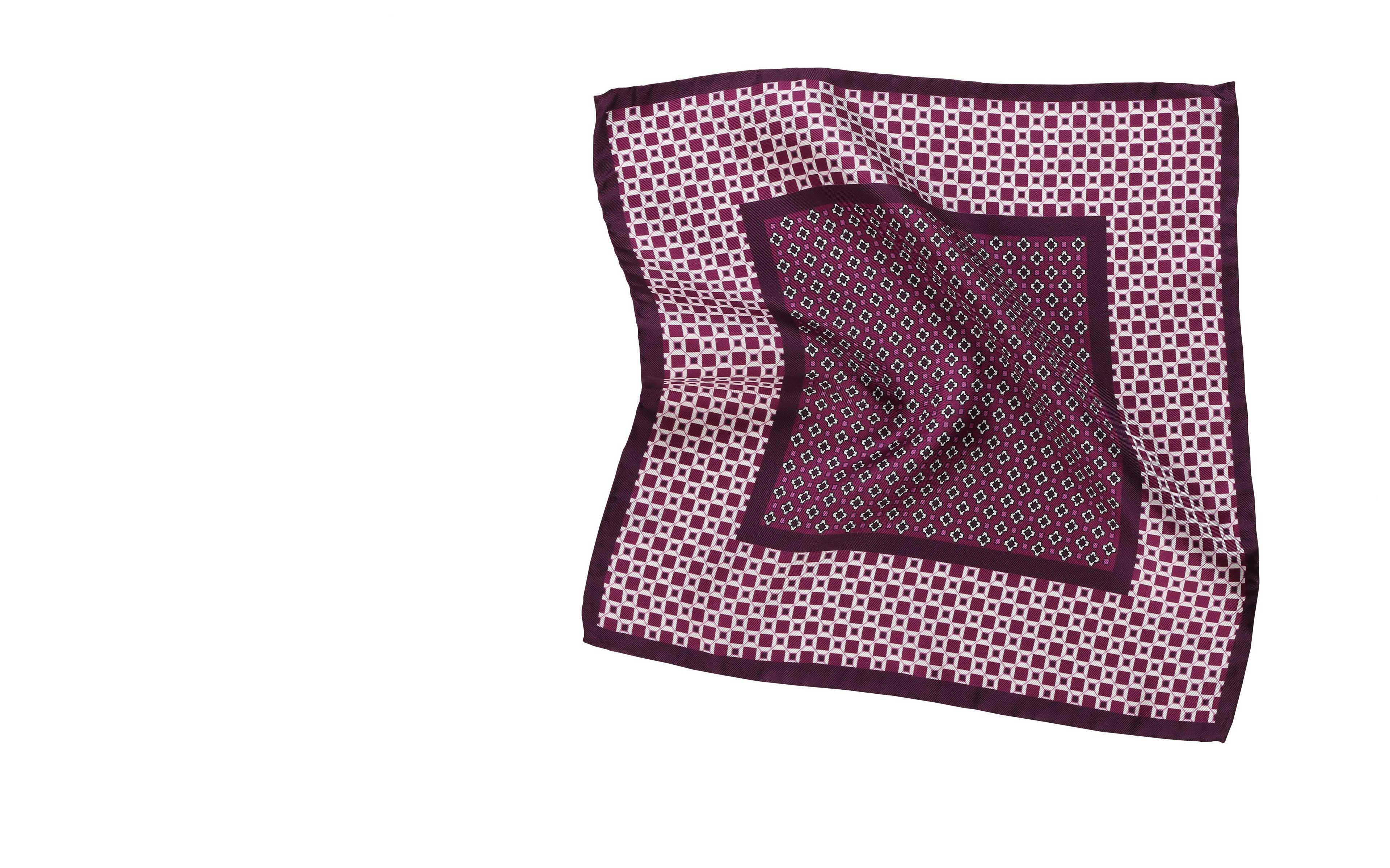 Purple & White Italian 100% Silk Pocket Square