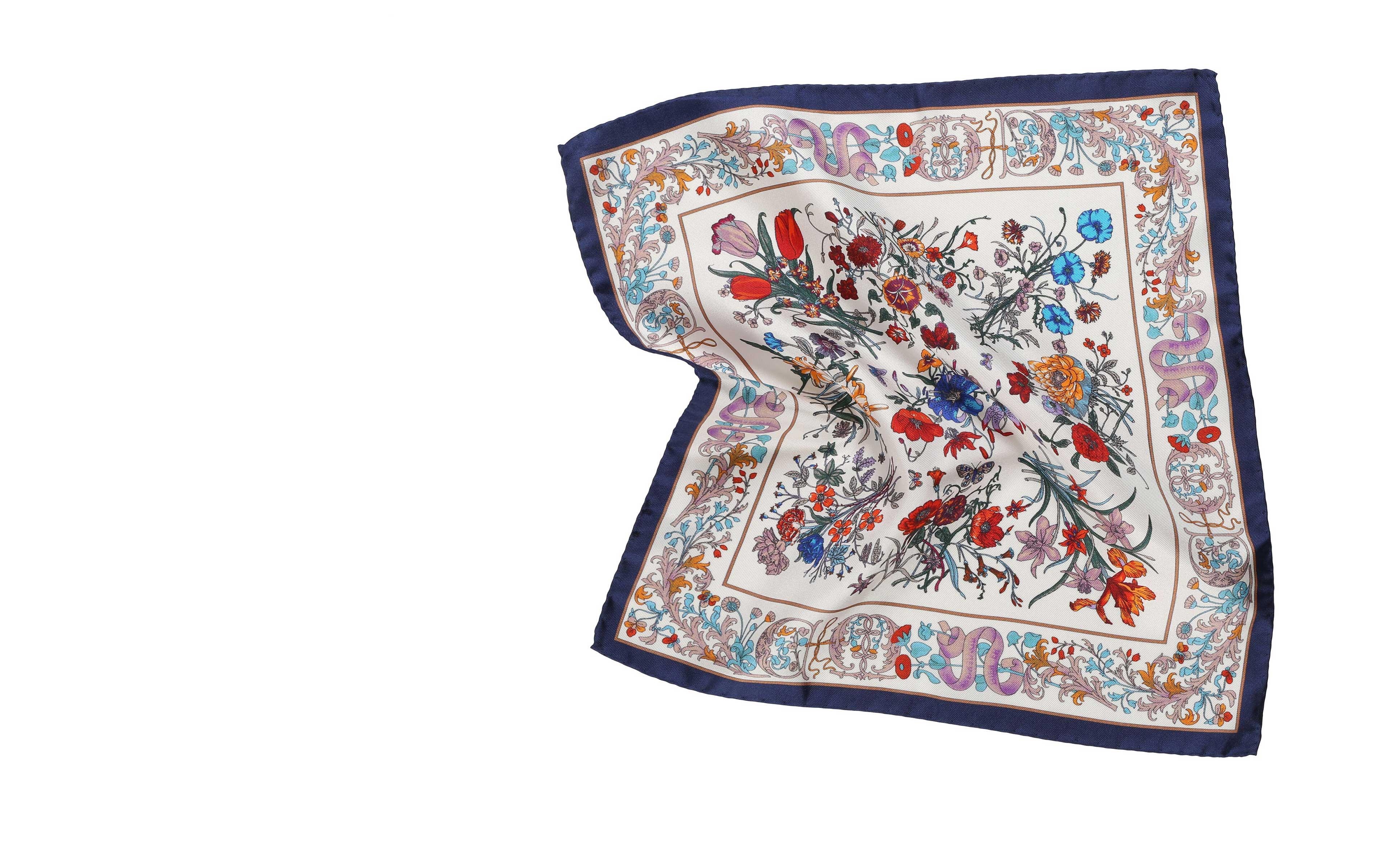 White Floral Vintage Italian 100% Silk Pocket Square