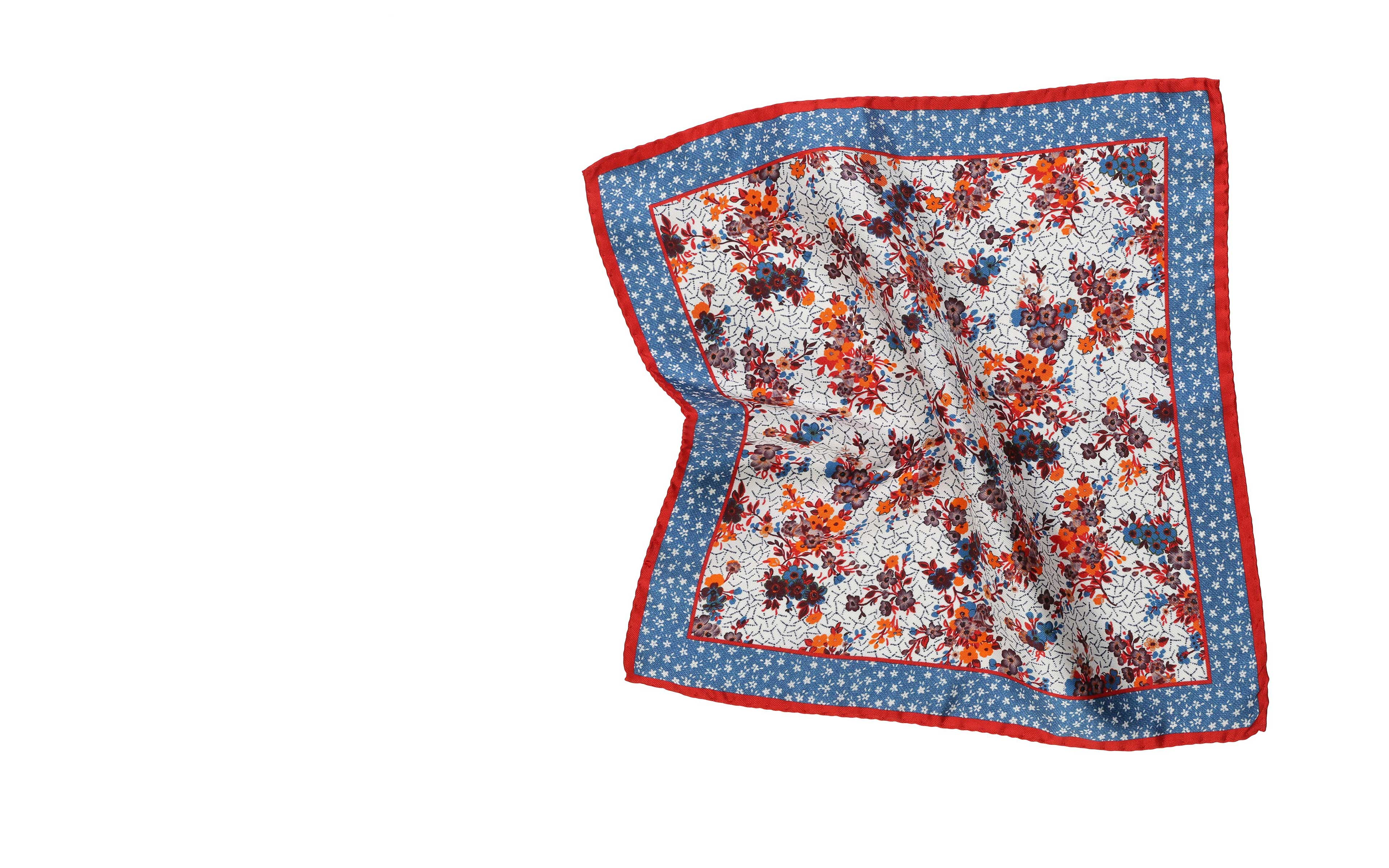 Red, Blue and Orange Flower Italian 100% Silk Pocket Square