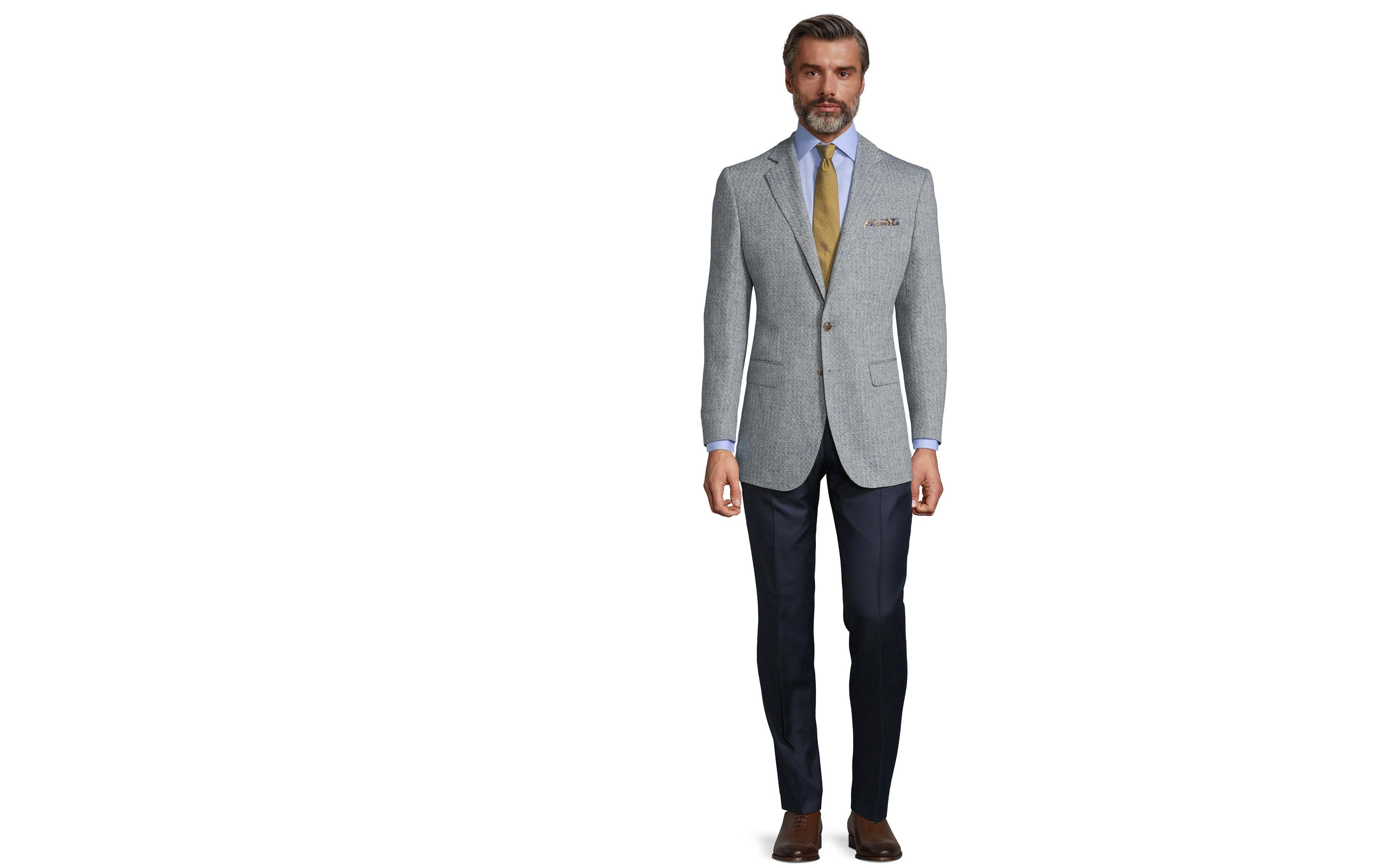 White & Navy Blue Melange Wool Silk & Linen Blazer
