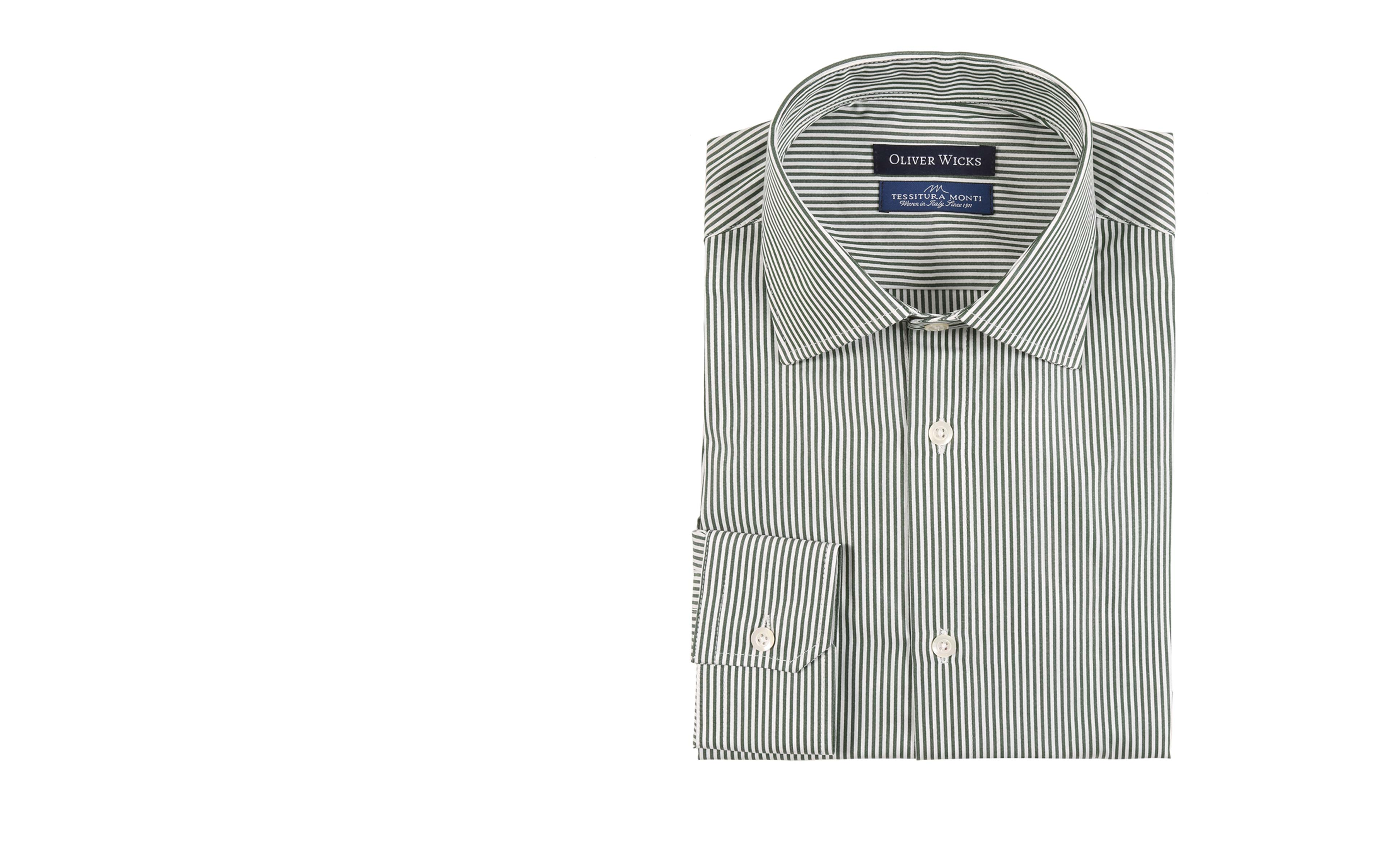 Green Striped Two-Ply Pinpoint Cotton Shirt