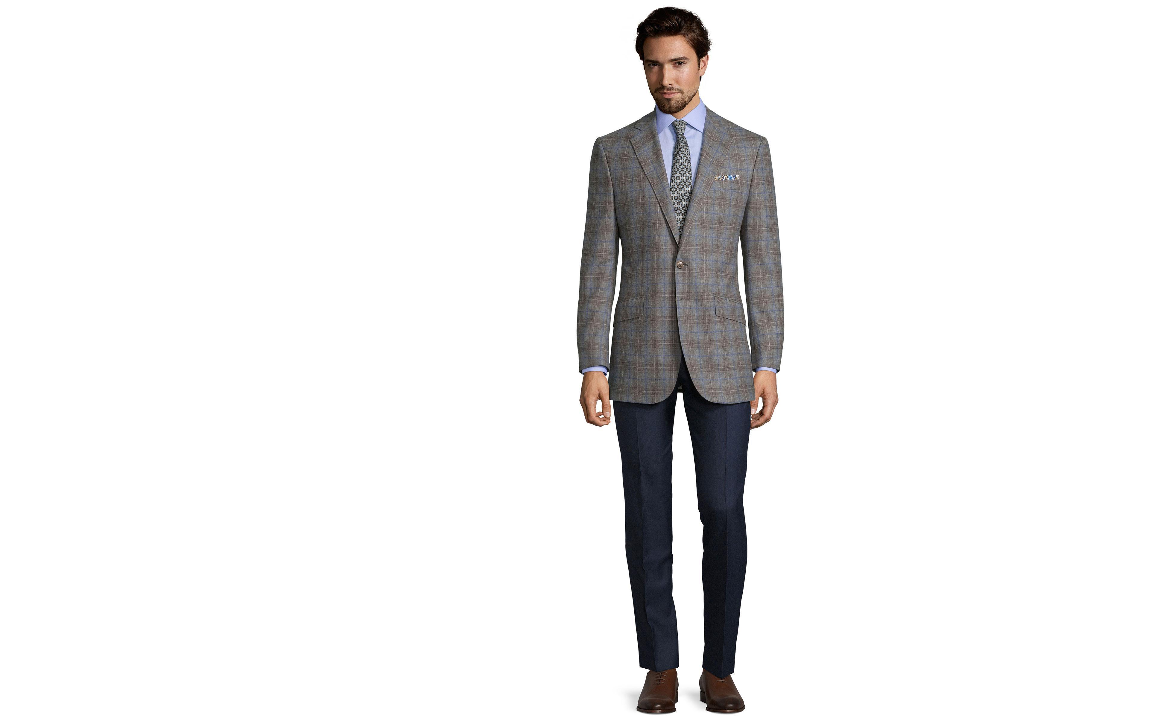 Blue Check Warm Grey Natural Stretch Blazer