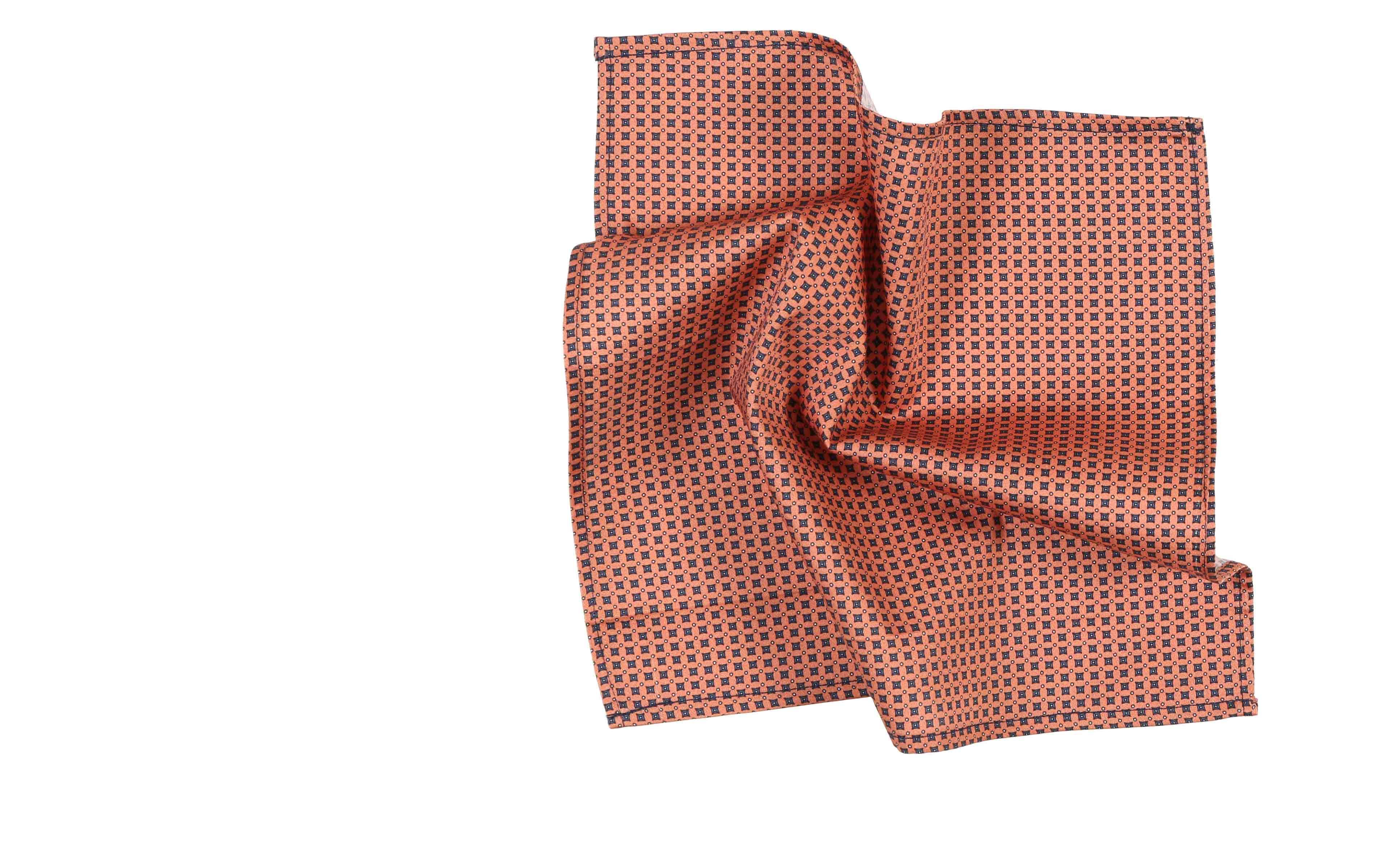 Orange Patterned Cotton Pocket Square