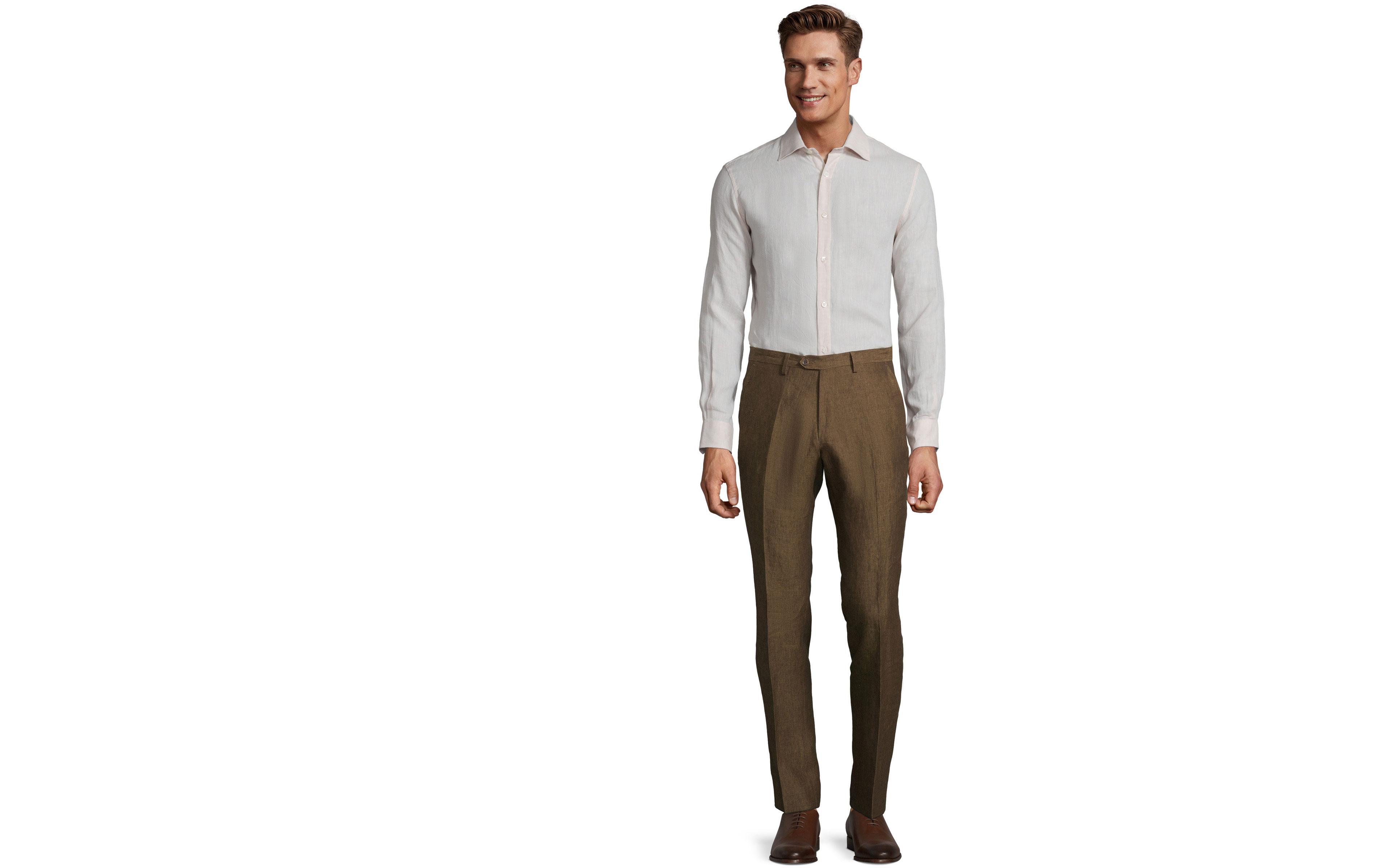Natural Brown Linen Pants